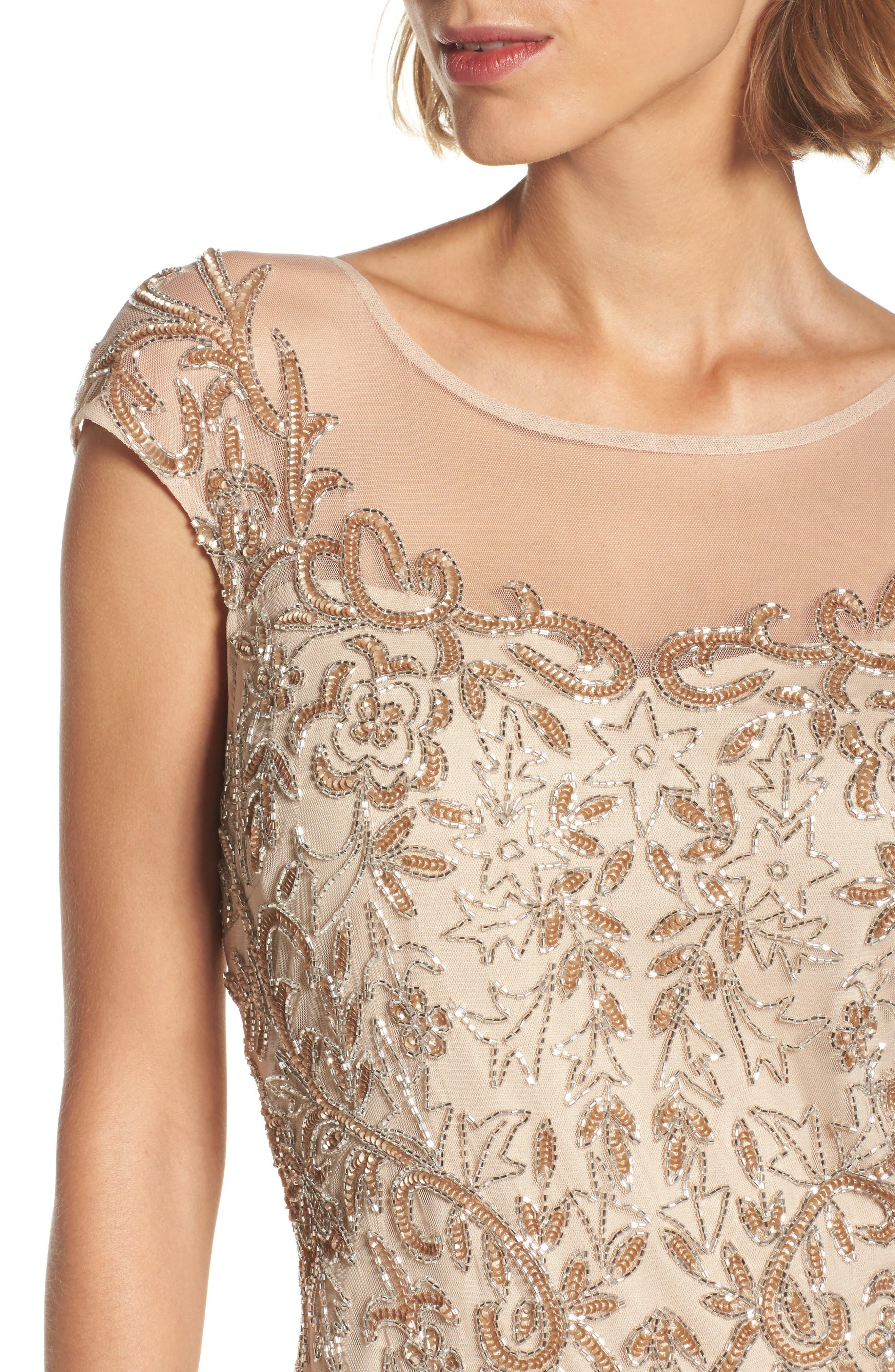Alternate Image 4  - Pisarro Nights Embellished Illusion Sheath Dress (Regular & Petite)