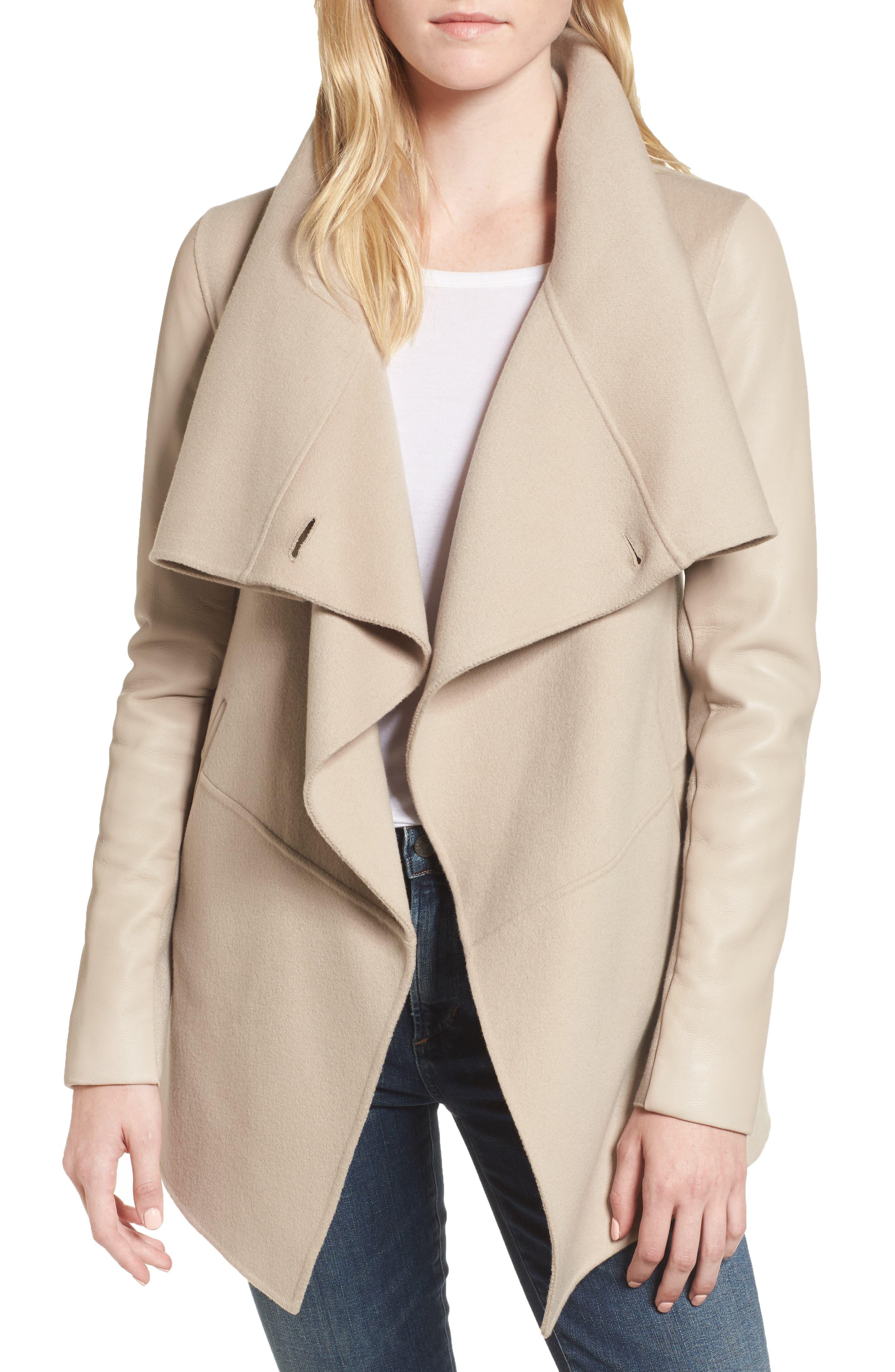 Vane Asymmetrical Leather Sleeve Coat,                             Main thumbnail 1, color,                             Sand