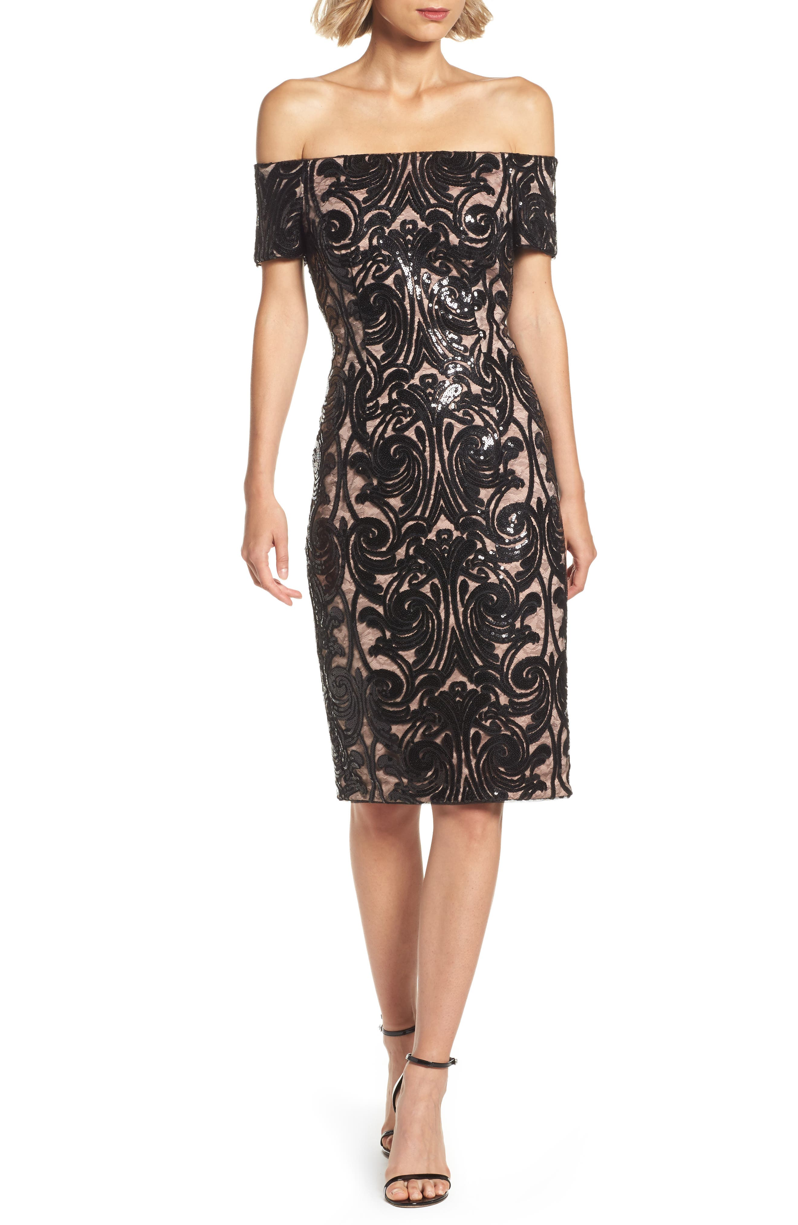 Adrianna Papell Off the Shoulder Sequin Mesh Dress