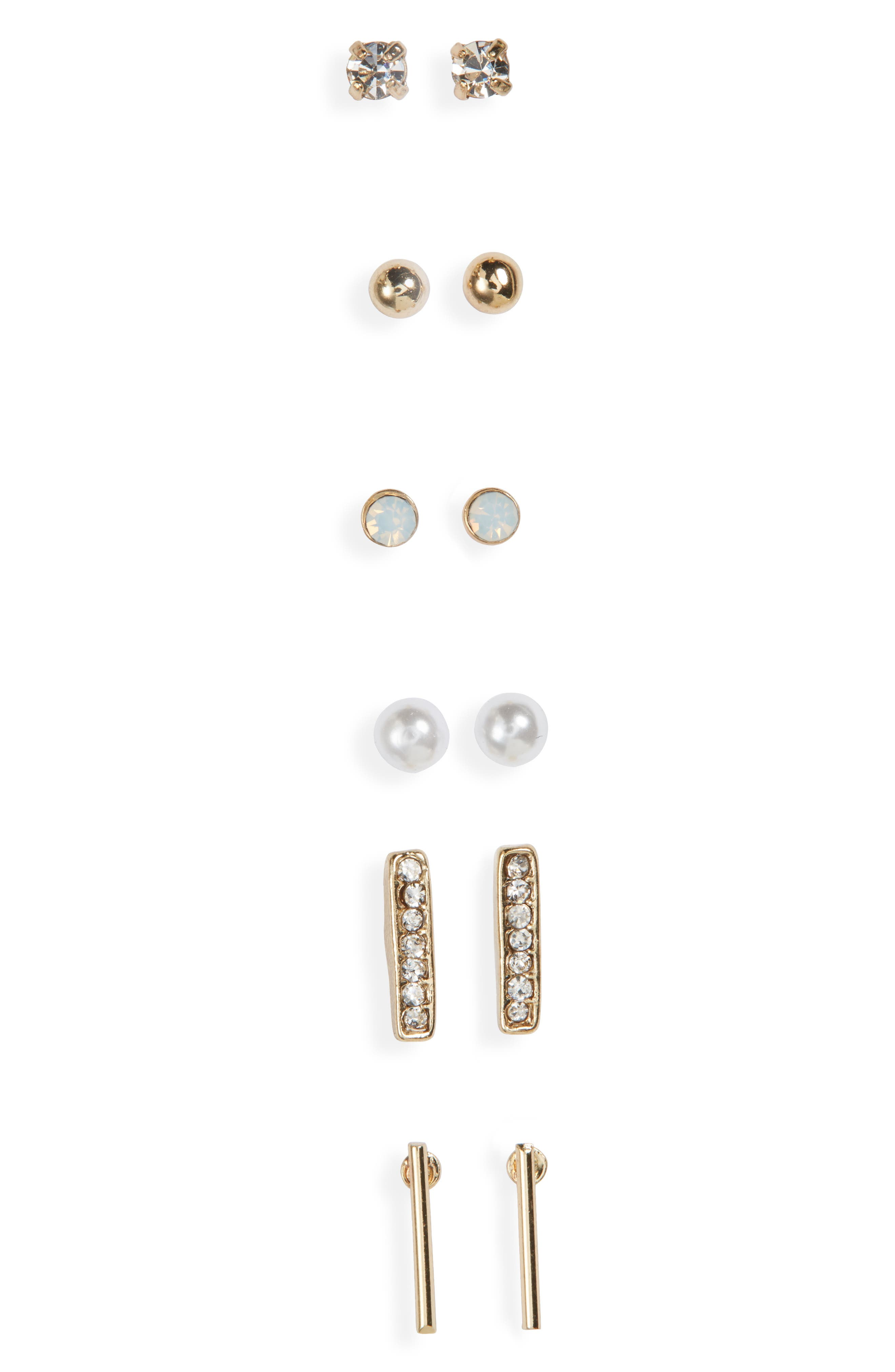 BP. 6-Pack Faux Pearl & Crystal Stud Earrings