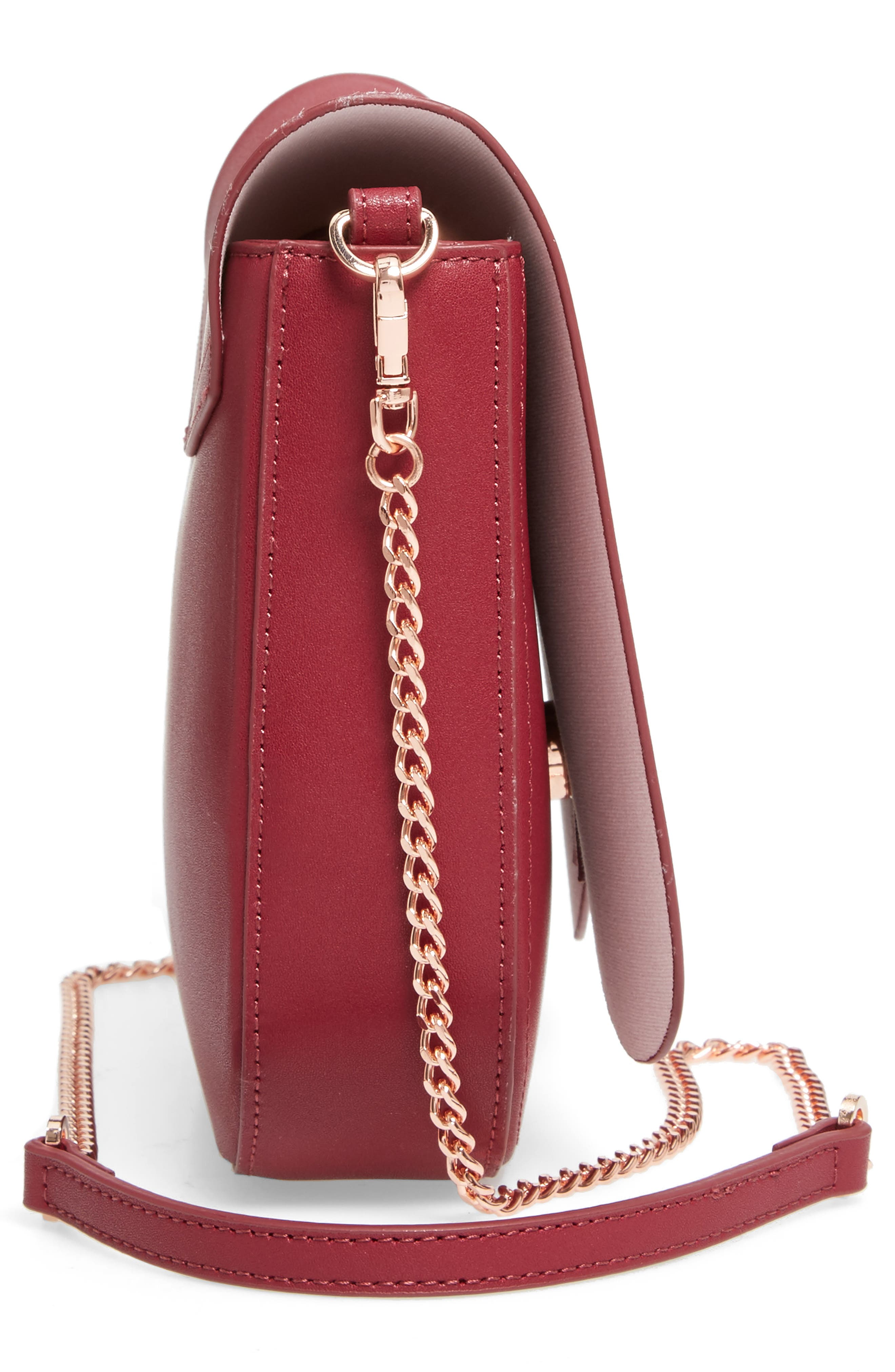 Kittii Cat Leather Crossbody Bag,                             Alternate thumbnail 5, color,                             Oxblood