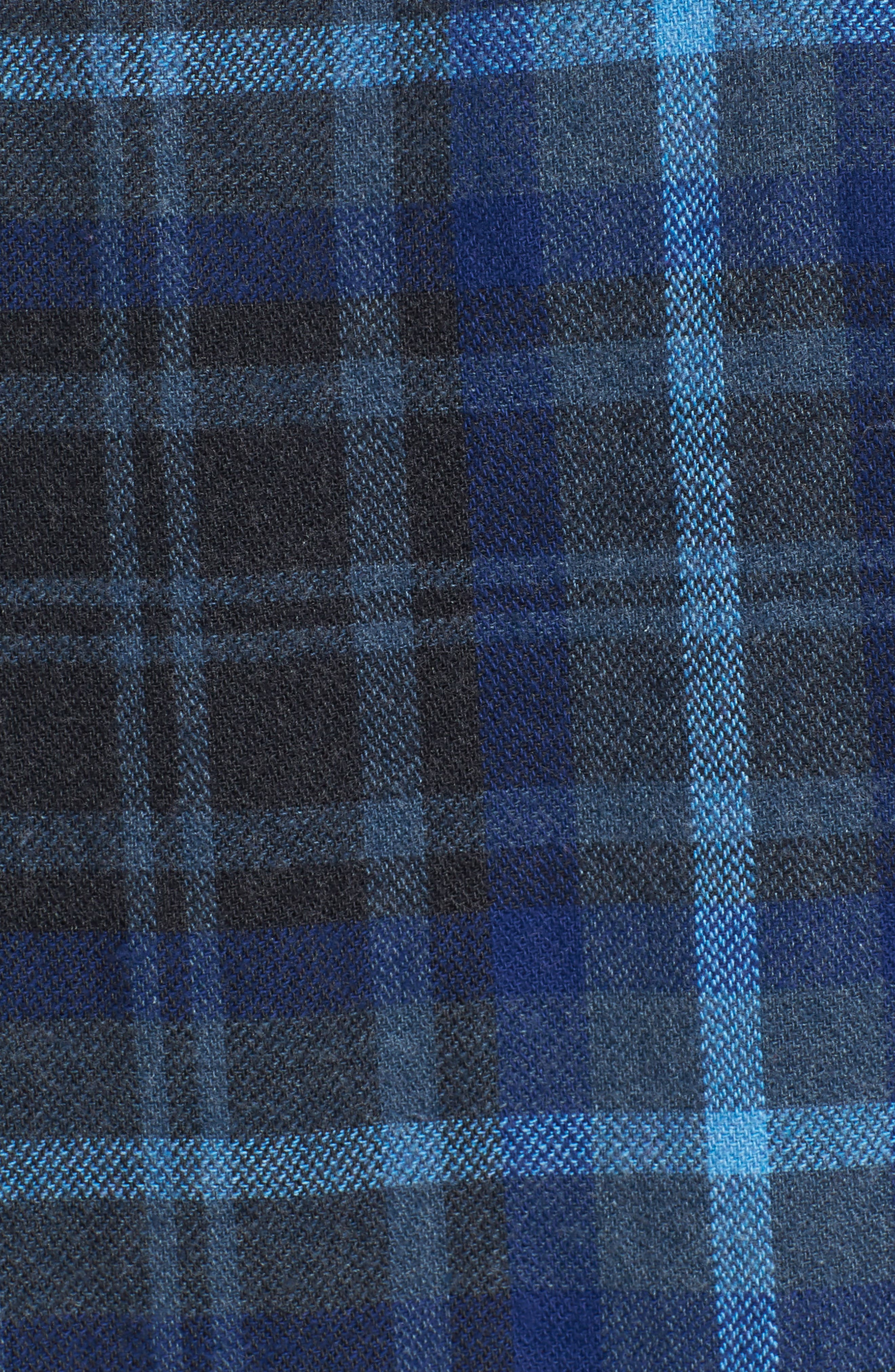 Barton Modern Fit Plaid Flannel Sport Shirt,                             Alternate thumbnail 5, color,                             Charcoal Royal Gray