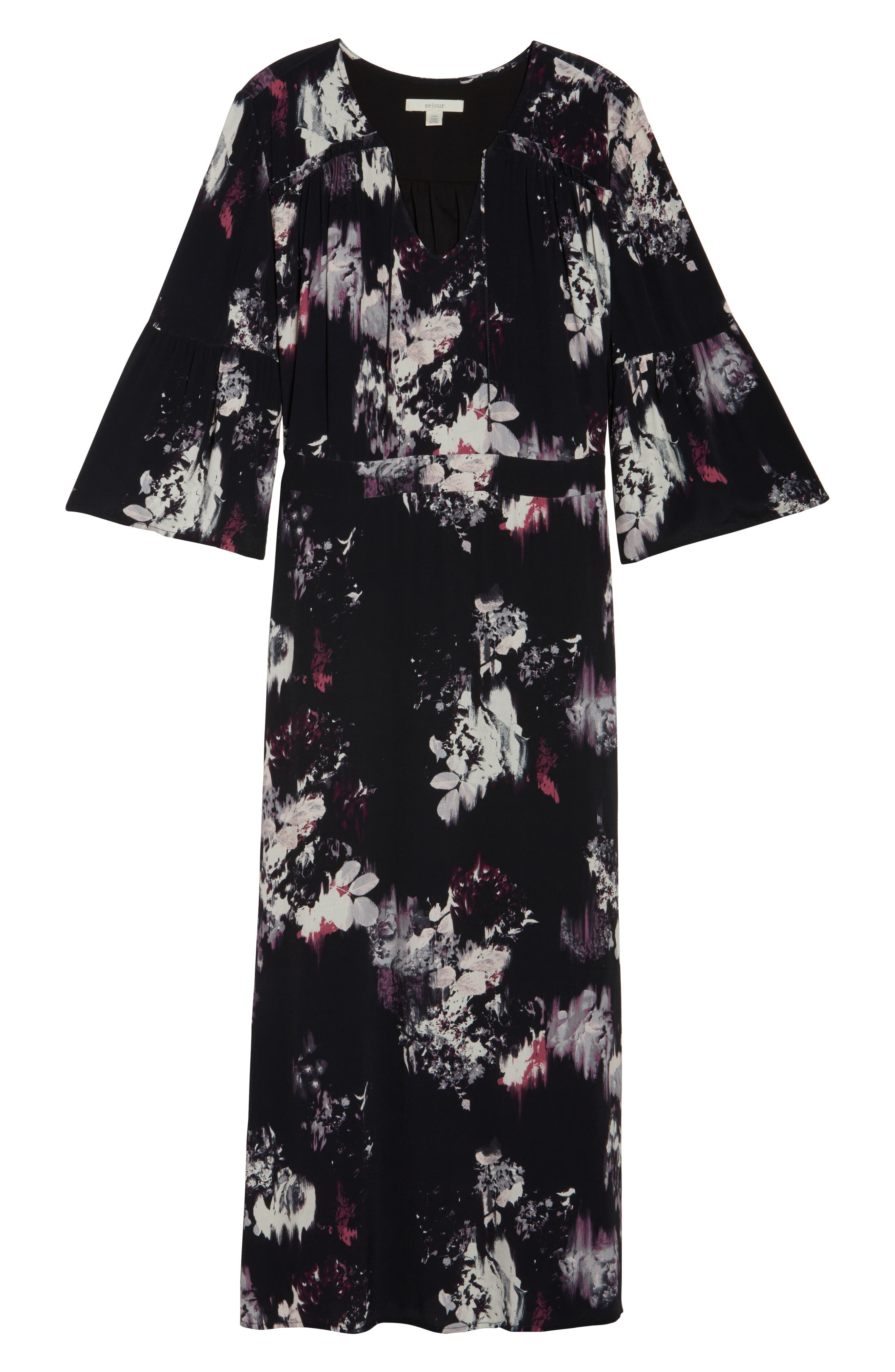 Alternate Image 7  - Sejour Bell Sleeve A-Line Maxi Dress (Plus Size)
