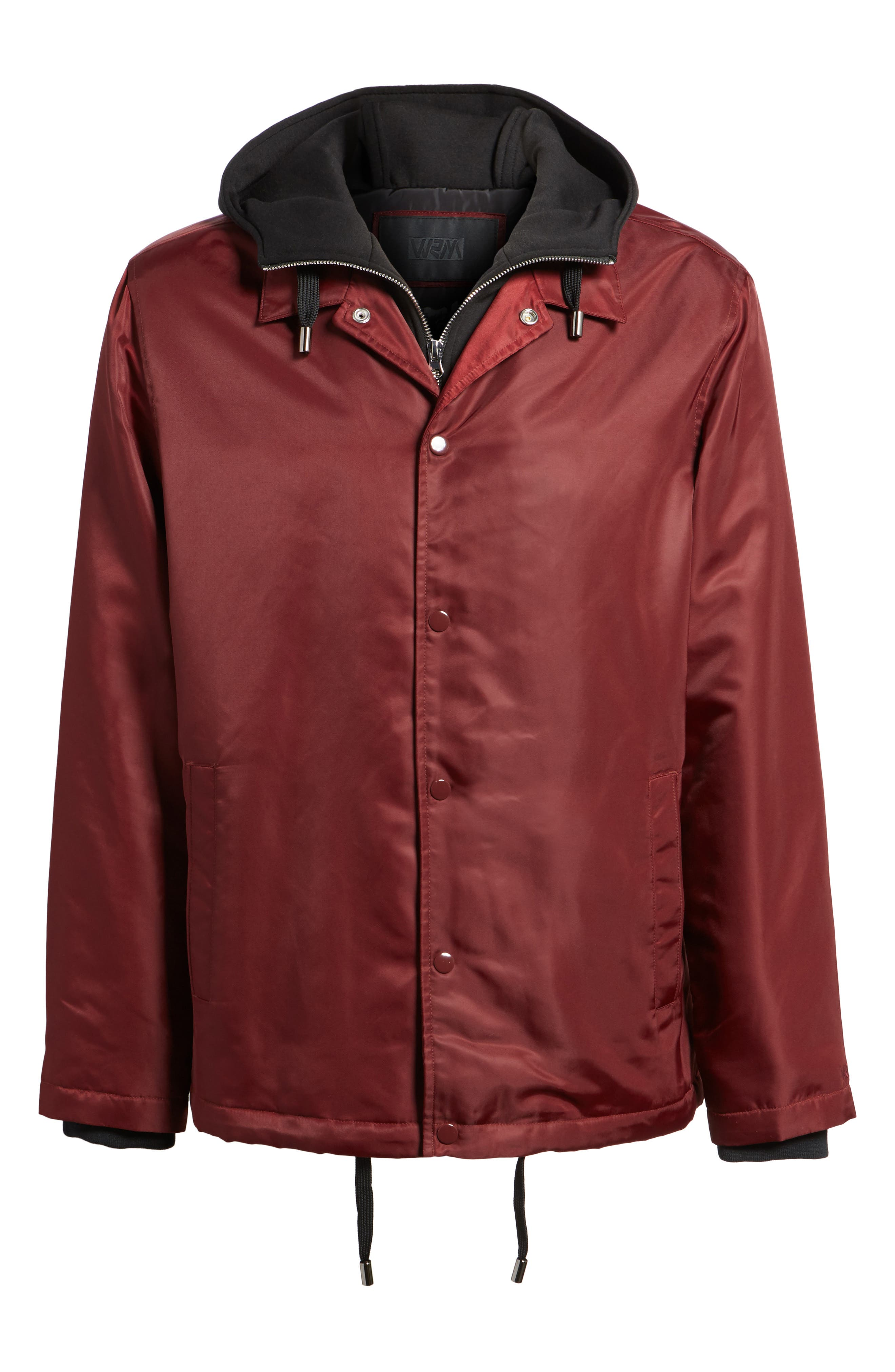 Yorkshire Hooded Coach's Jacket,                             Alternate thumbnail 5, color,                             Burgundy