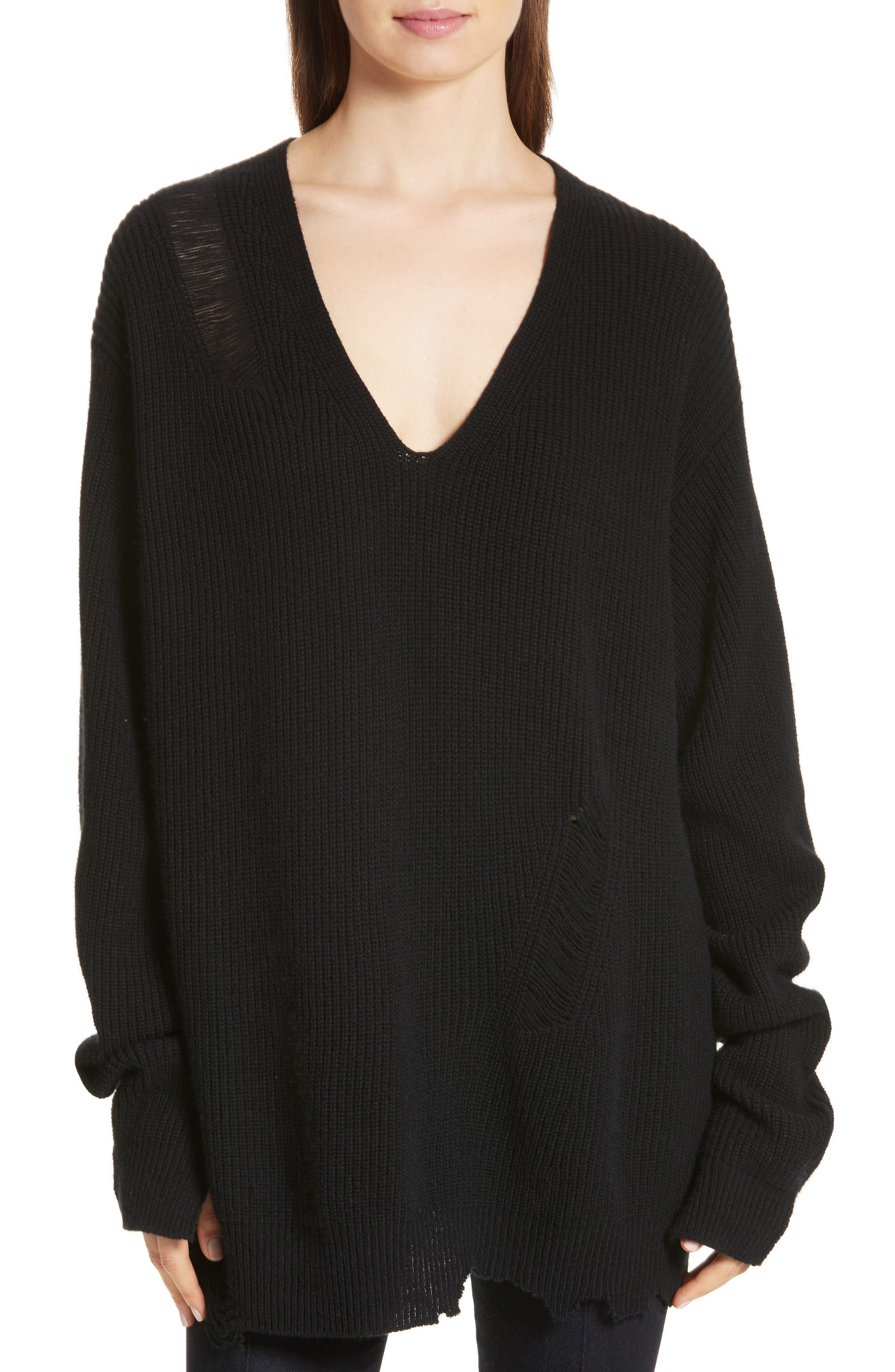 Distressed Wool & Cashmere Sweater,                         Main,                         color, Black