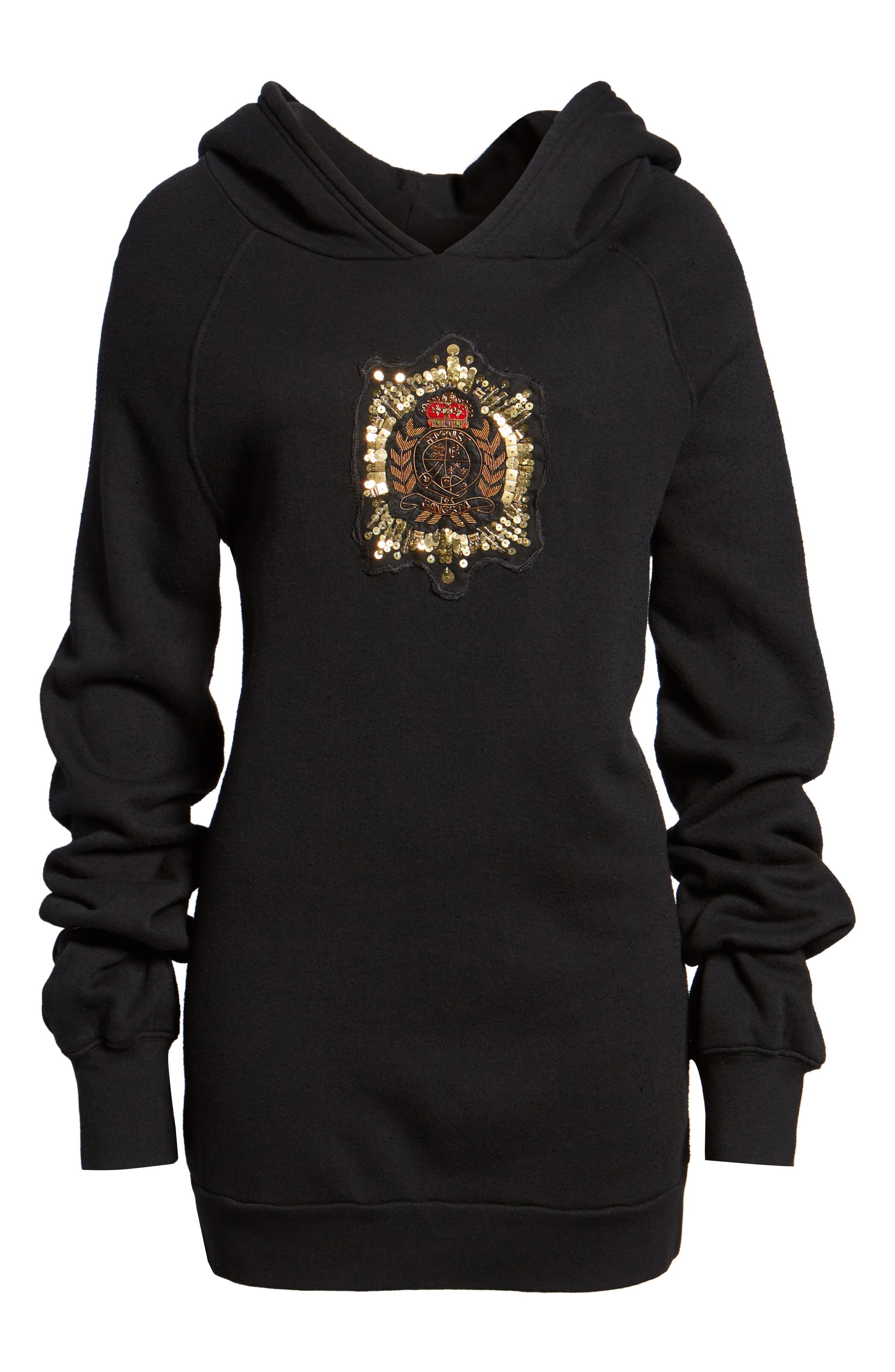Crest Patch Sweatshirt Dress,                             Alternate thumbnail 6, color,                             Black