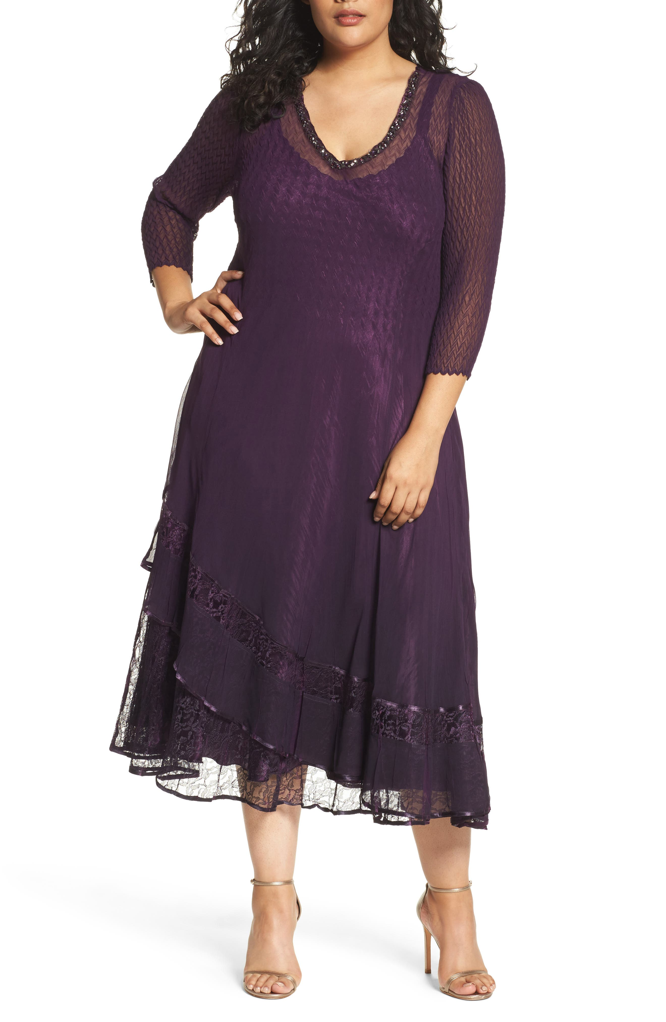 Chiffon Layer Charmeuse Dress,                         Main,                         color, Aubergine