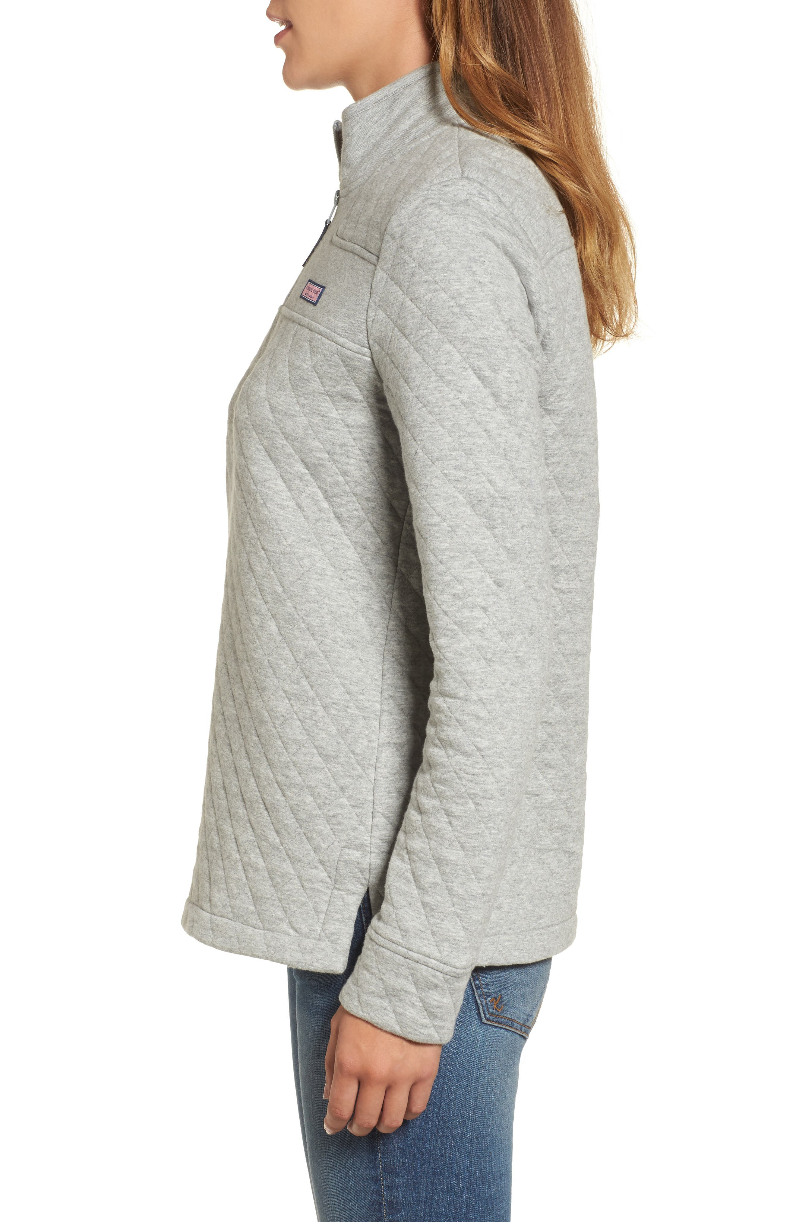 Shep Quilted Quarter Zip Pullover,                             Alternate thumbnail 3, color,                             Silver Fox