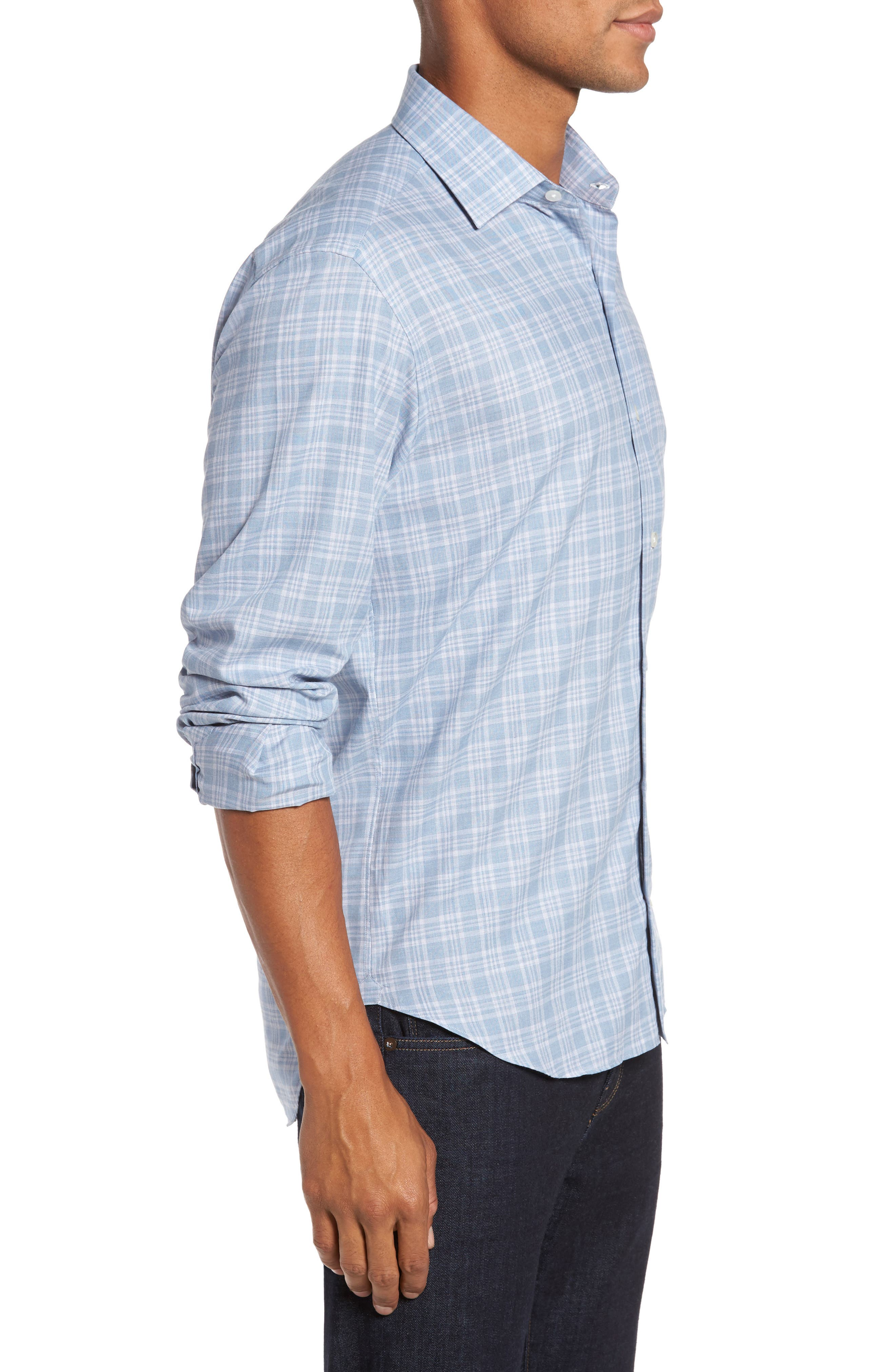 Trim Fit Check Sport Shirt,                             Alternate thumbnail 3, color,                             Blue