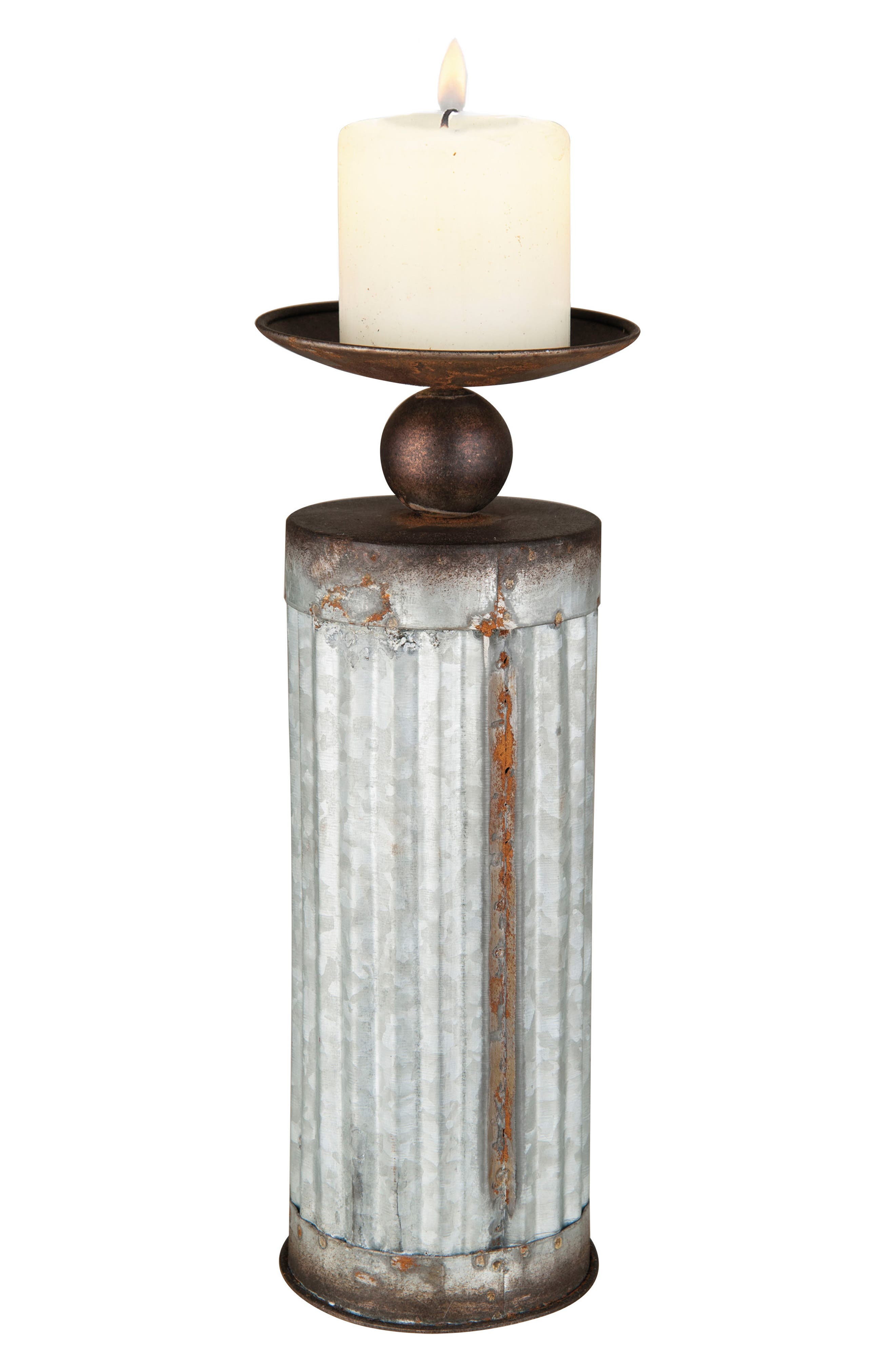 Corrugated Candle Holder,                             Main thumbnail 1, color,                             Metal