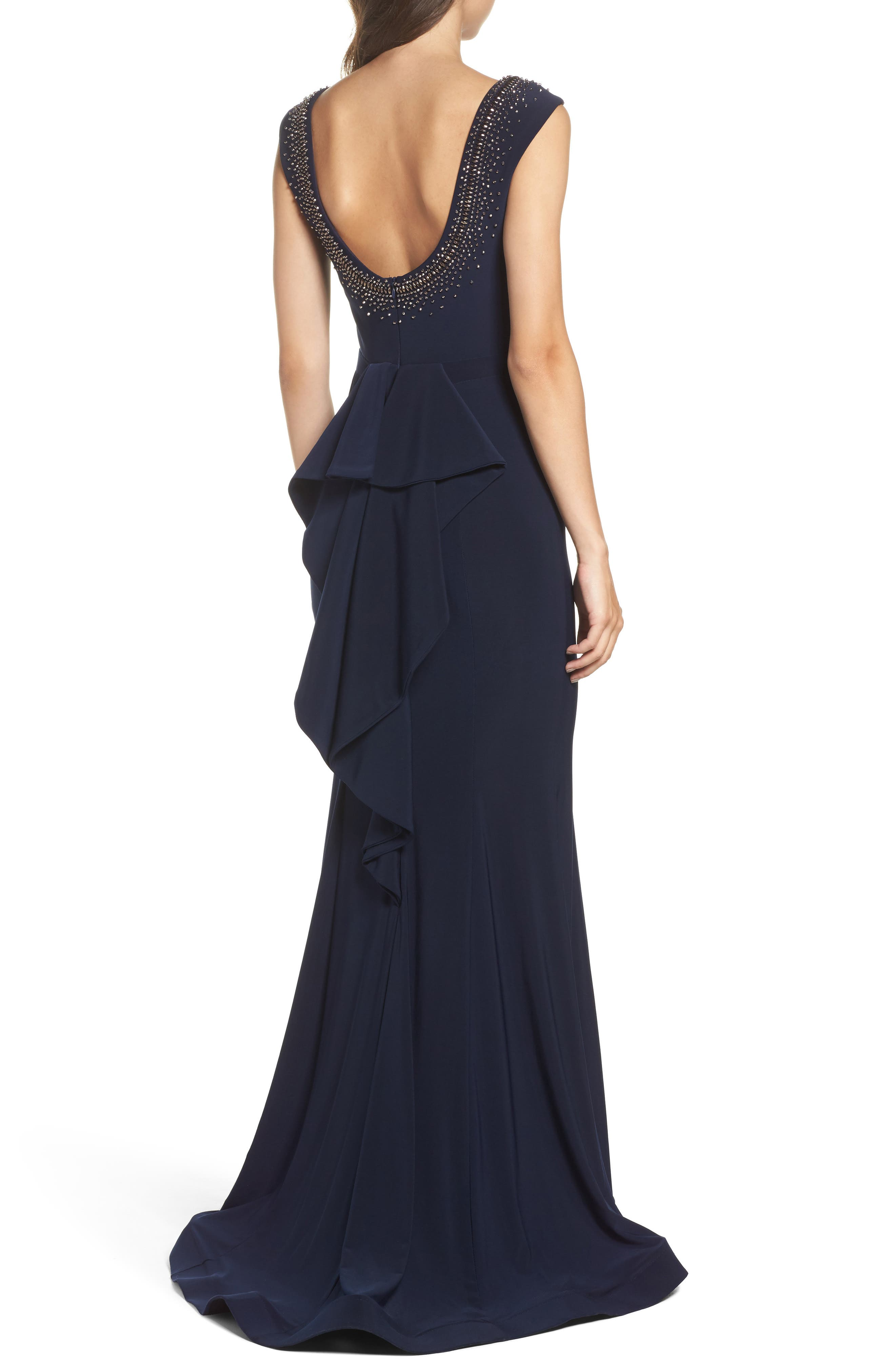 Beaded Ruffle Back Jersey Trumpet Gown,                             Alternate thumbnail 2, color,                             Navy/ Gunmetal