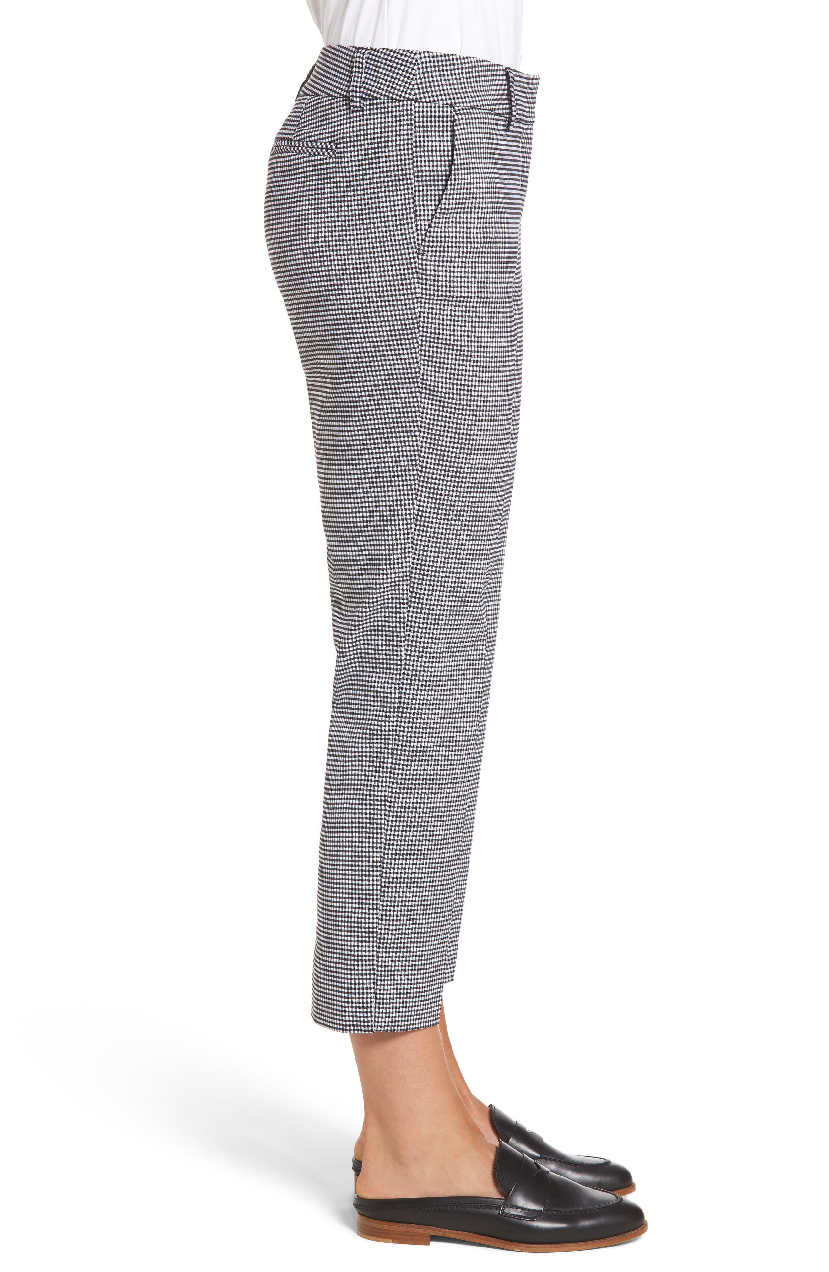 Crop Stretch Cotton Pants,                             Alternate thumbnail 4, color,                             Black- White Gingham