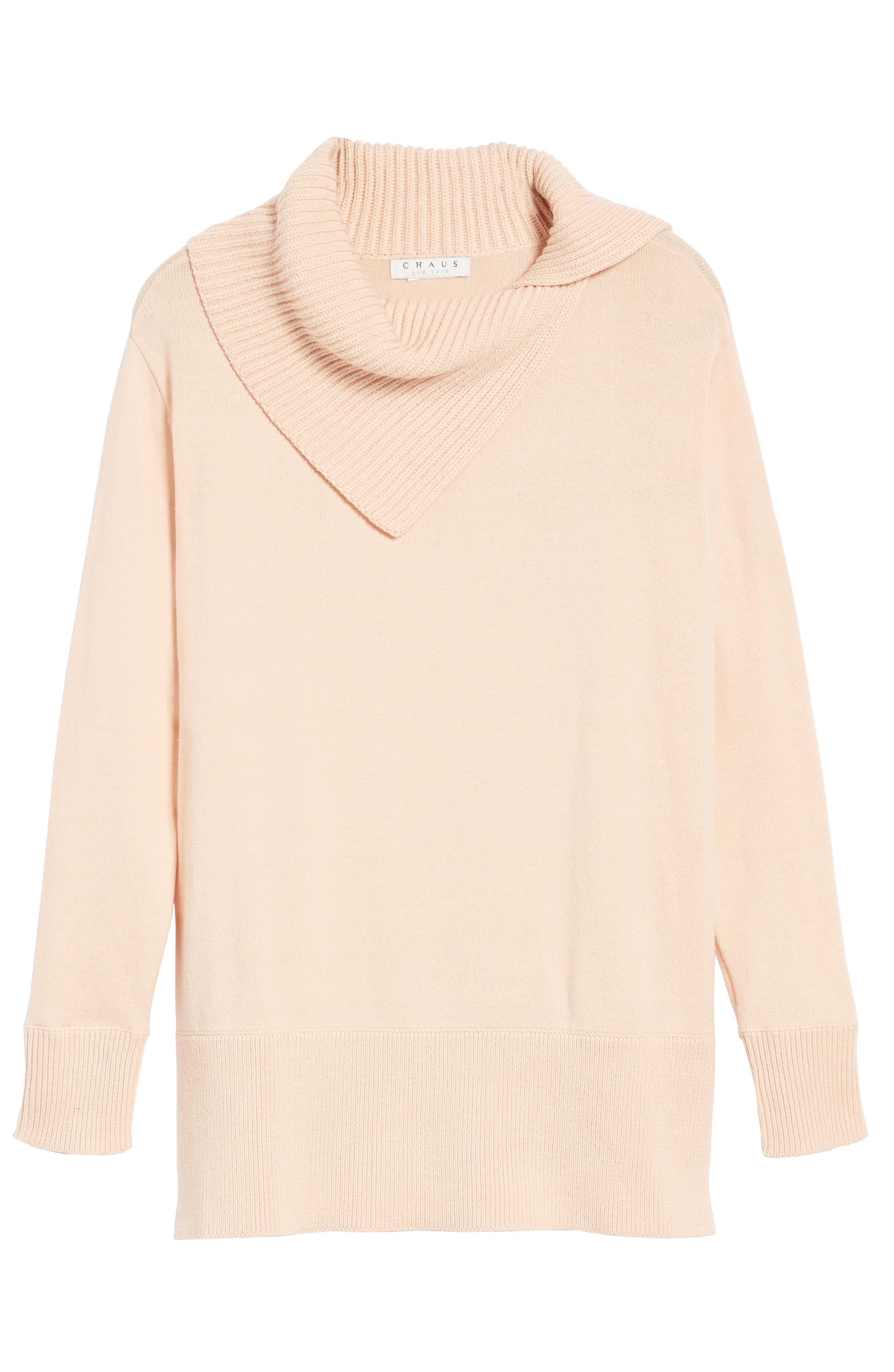Cowl Neck Sweater,                             Alternate thumbnail 6, color,                             Blush