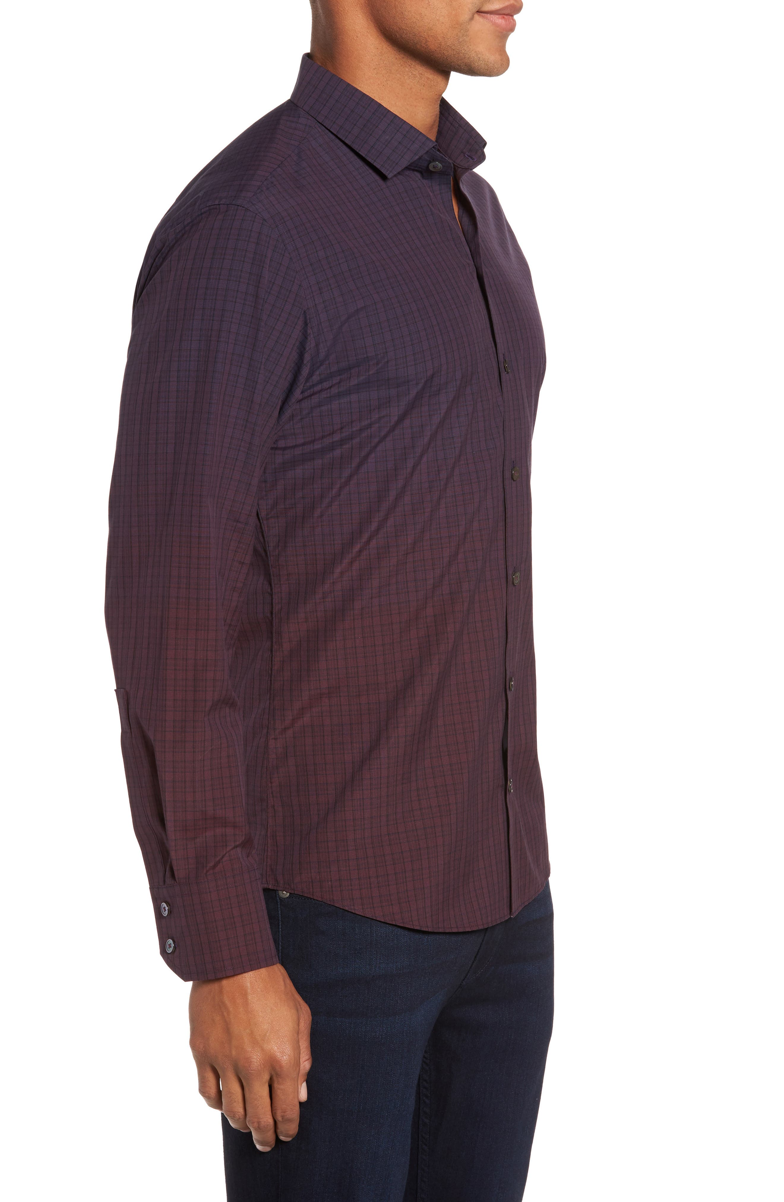 Wein Slim Fit Check Sport Shirt,                             Alternate thumbnail 3, color,                             Wine