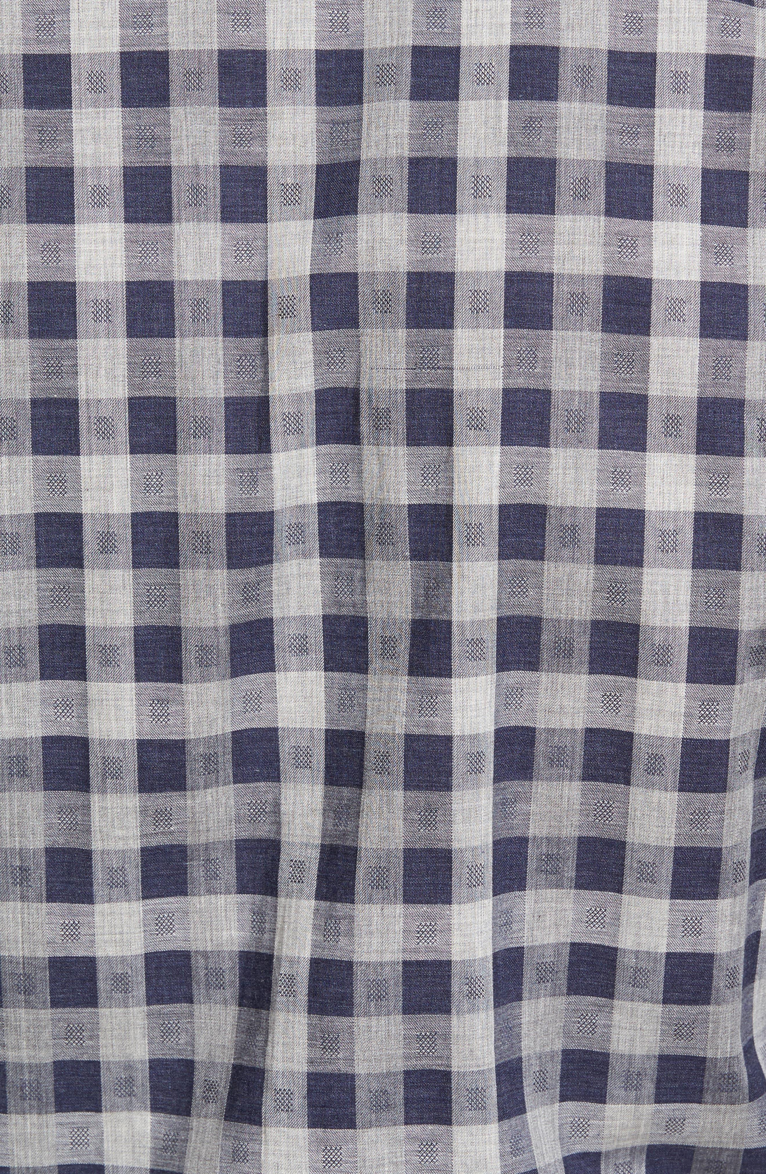 Regular Fit Check Sport Shirt,                             Alternate thumbnail 5, color,                             Navy