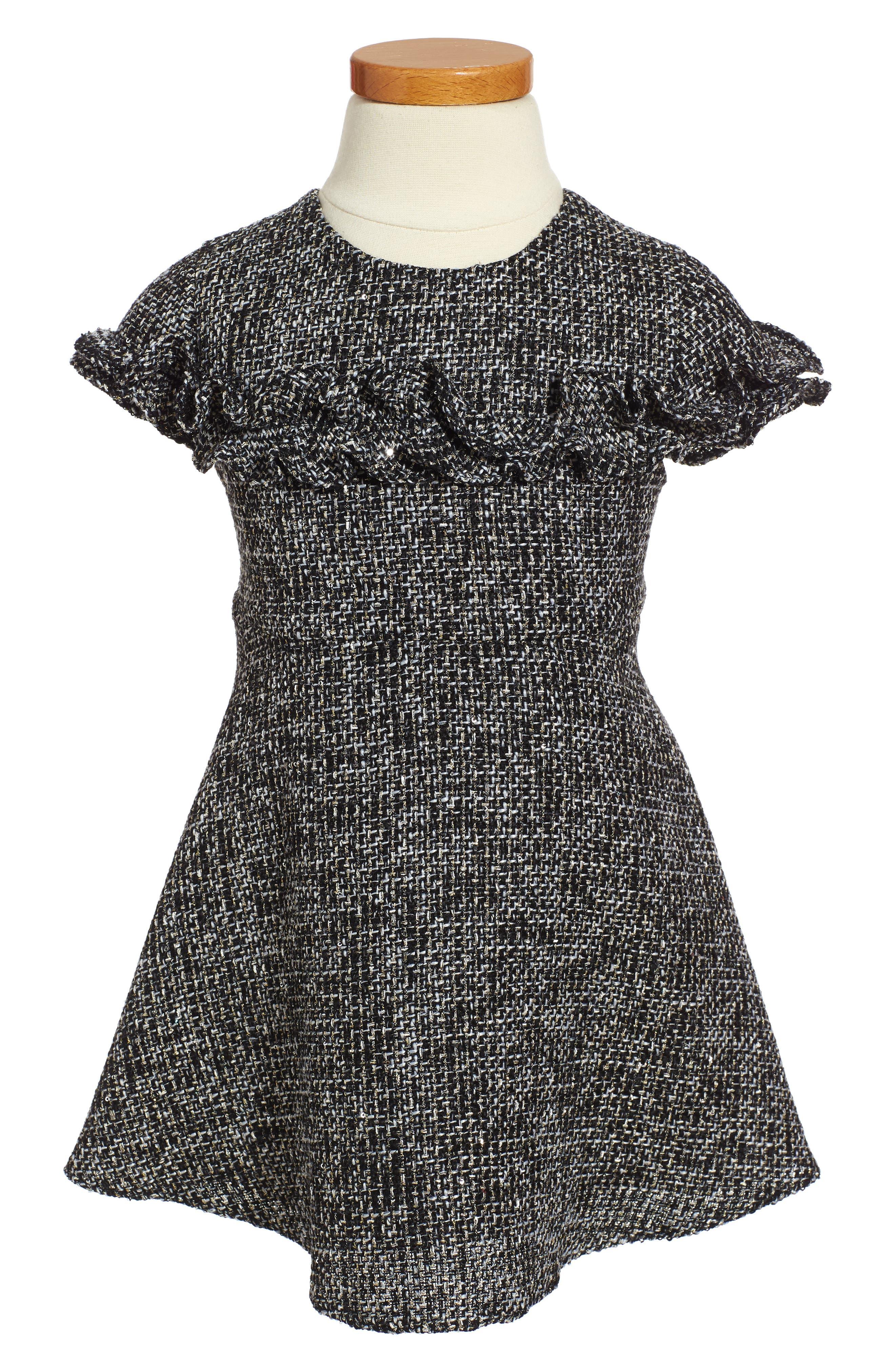 Sequin Tweed Dress,                         Main,                         color, Black