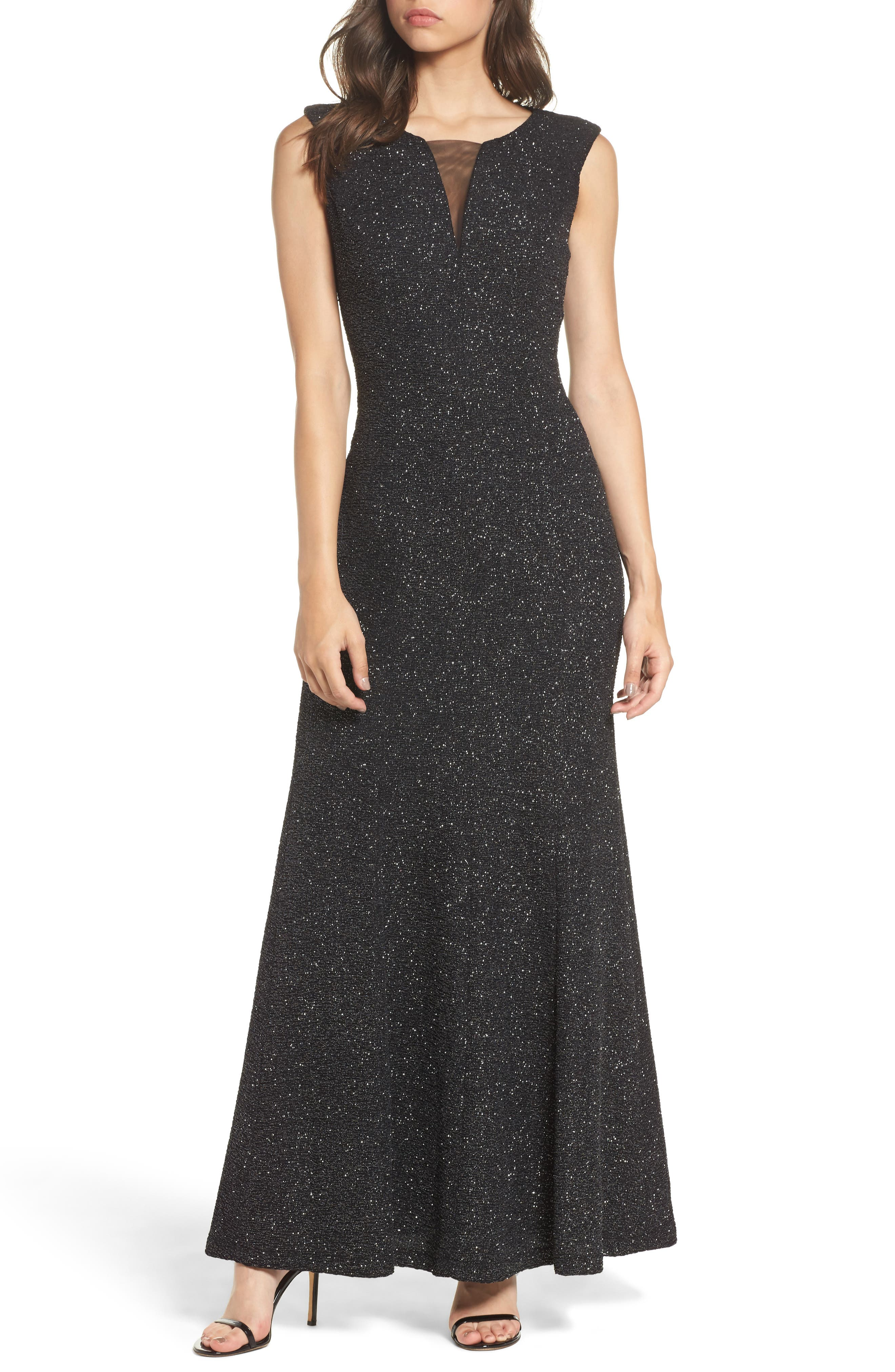 Glitter Knit Gown,                             Main thumbnail 1, color,                             Black/ Silver