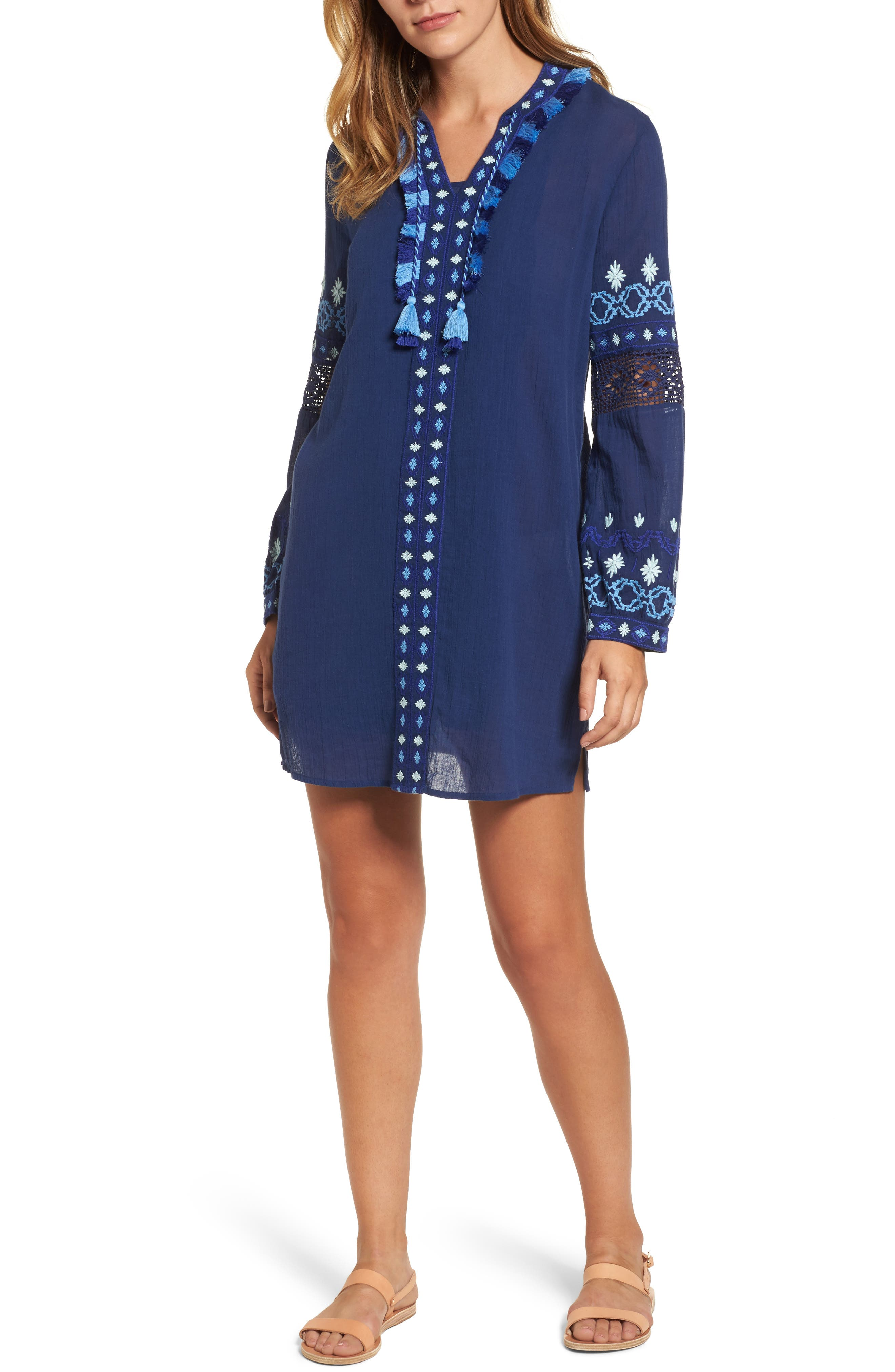 Solid Embroidered Cover-Up,                         Main,                         color, Deep Bay