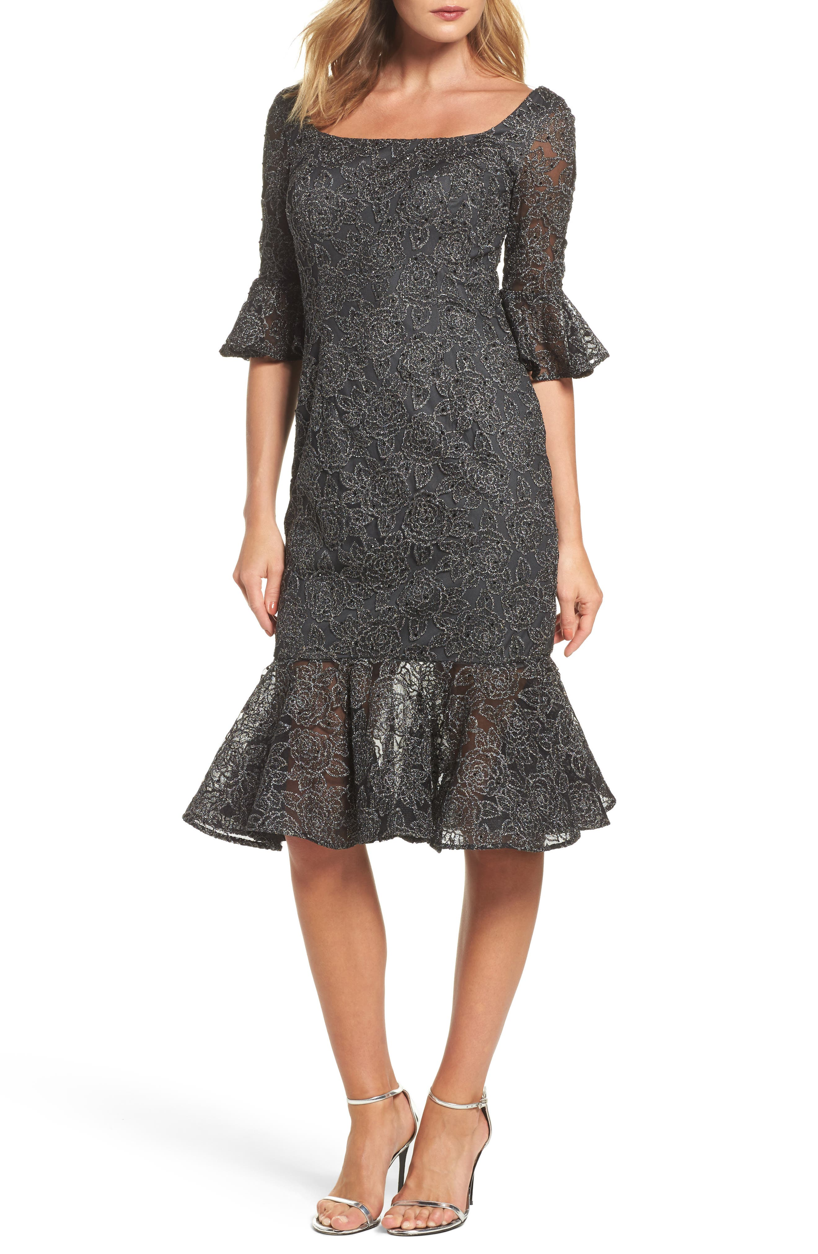 Alternate Image 1 Selected - La Femme Mermaid Hem Embroidered Mesh Sheath Dress