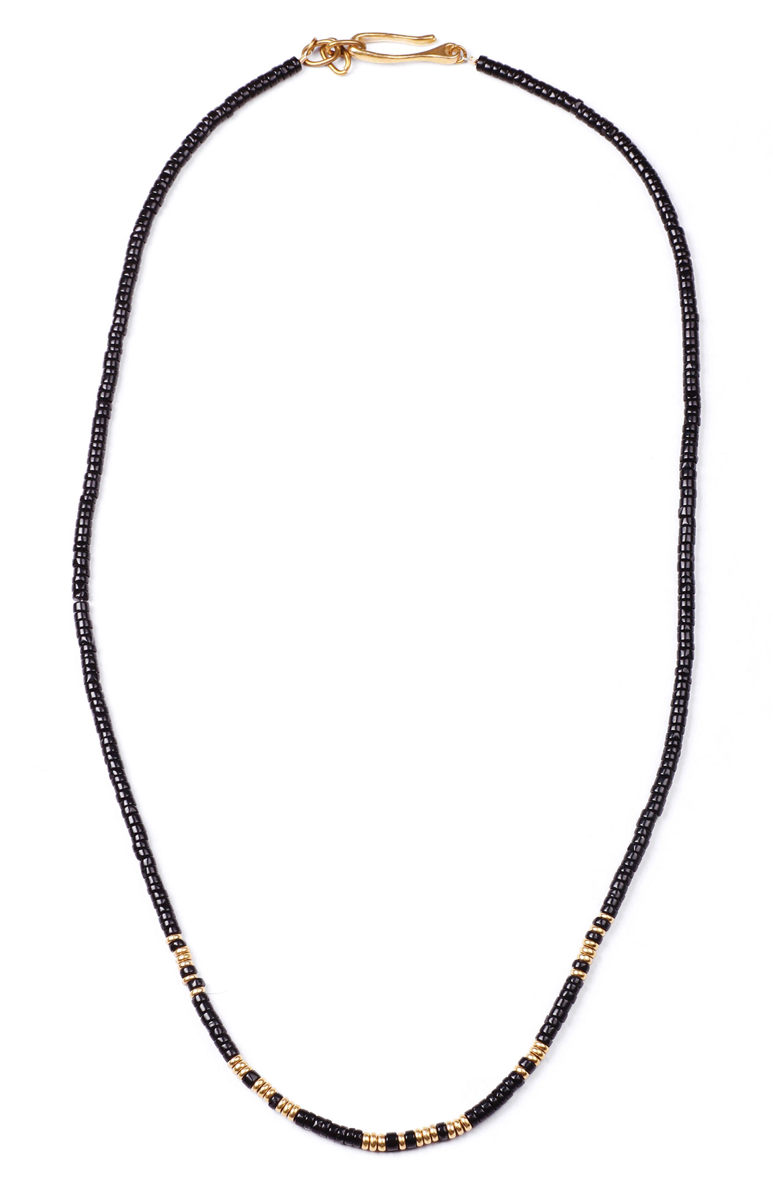 Loyal Morse Beaded Necklace,                         Main,                         color, Brass/ Black