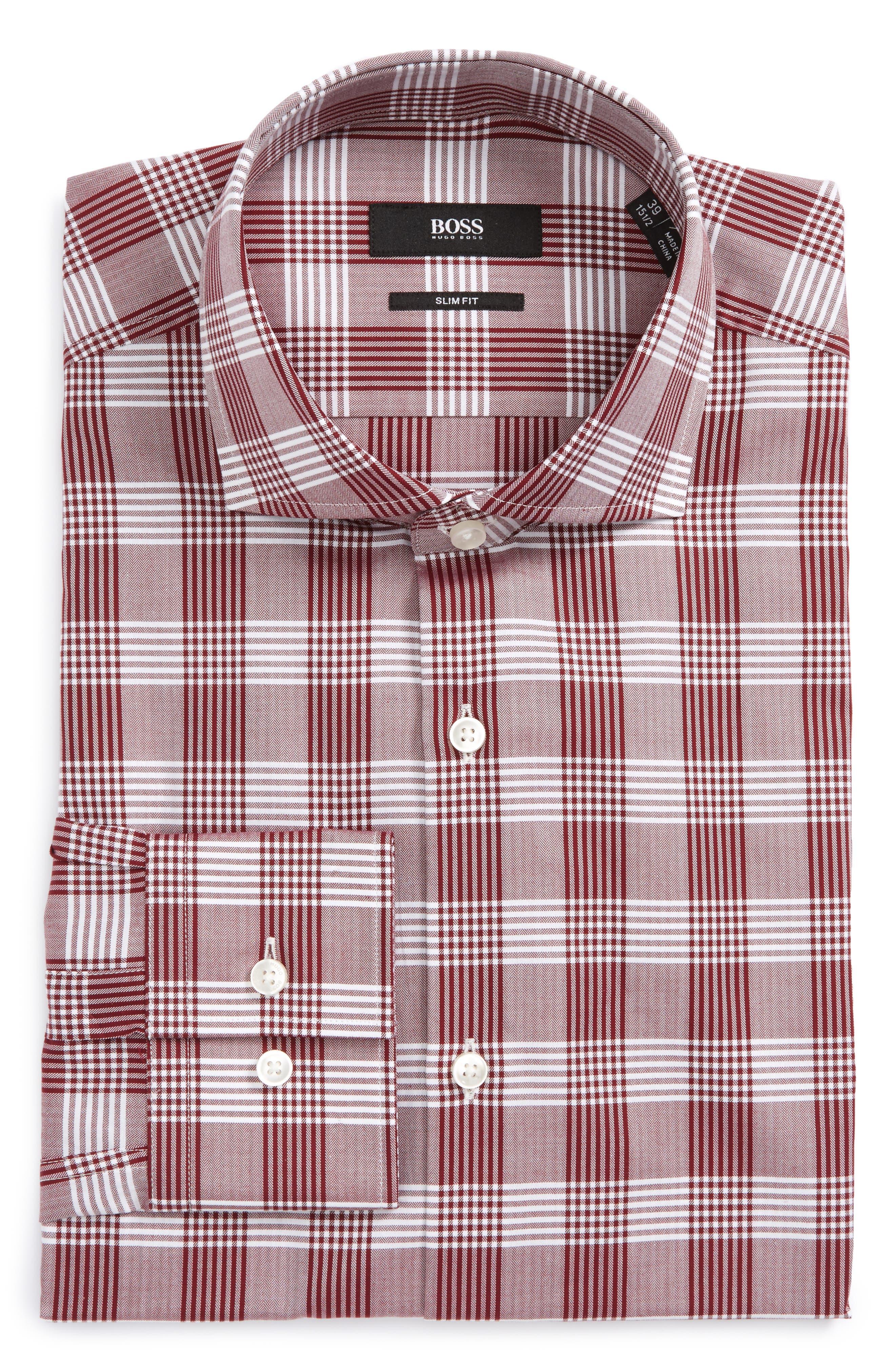 Jason Slim Fit Plaid Dress Shirt,                         Main,                         color, Red