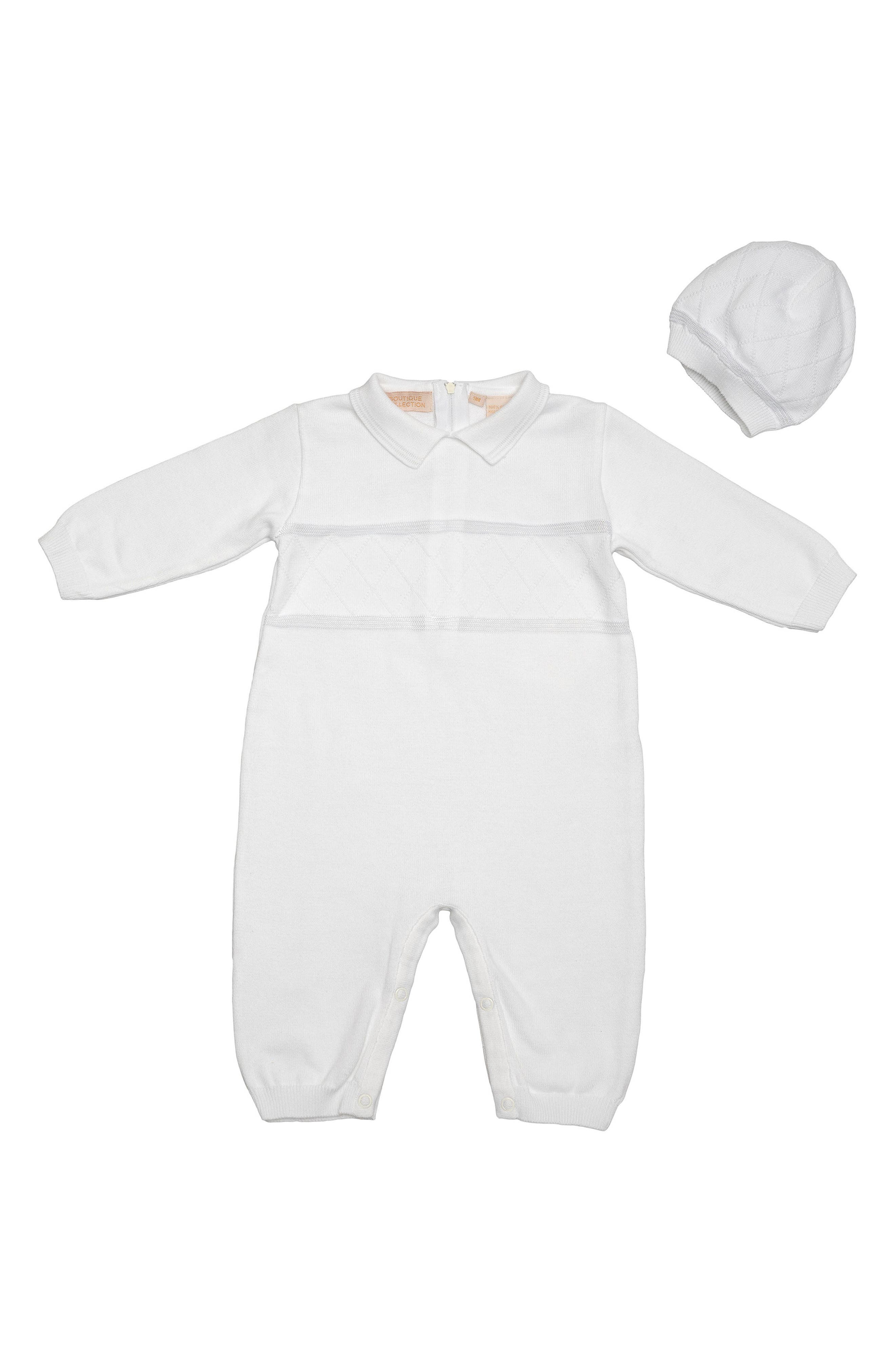 Carriage Boutique Christening Romper & Hat Set (Baby Boys)