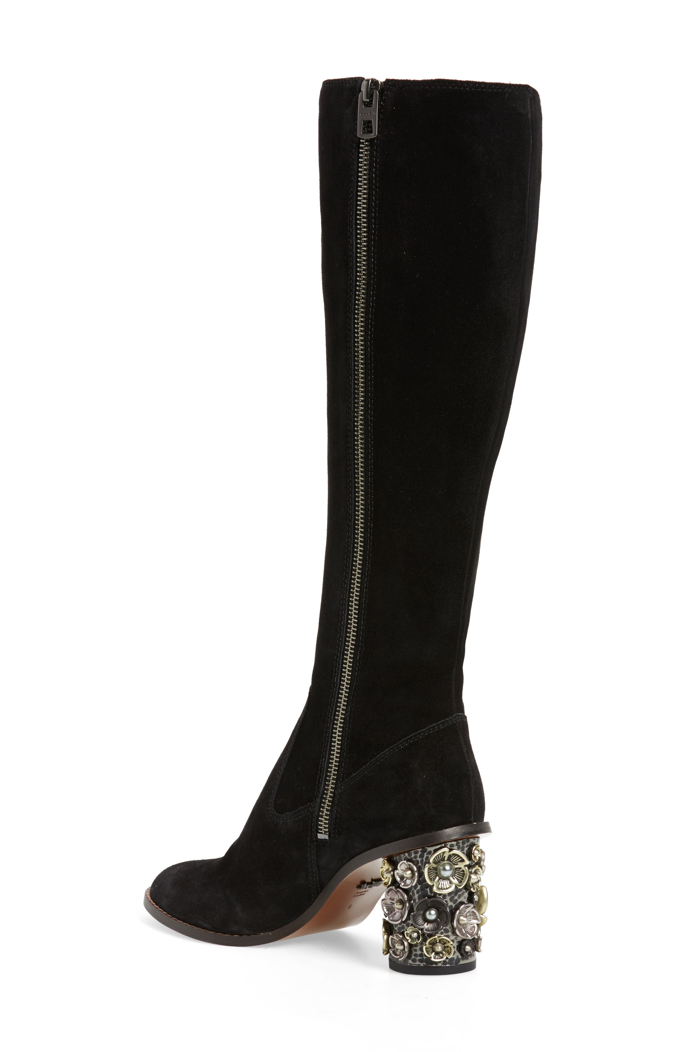Tea Rose Heel Boot,                             Alternate thumbnail 2, color,                             Black Leather