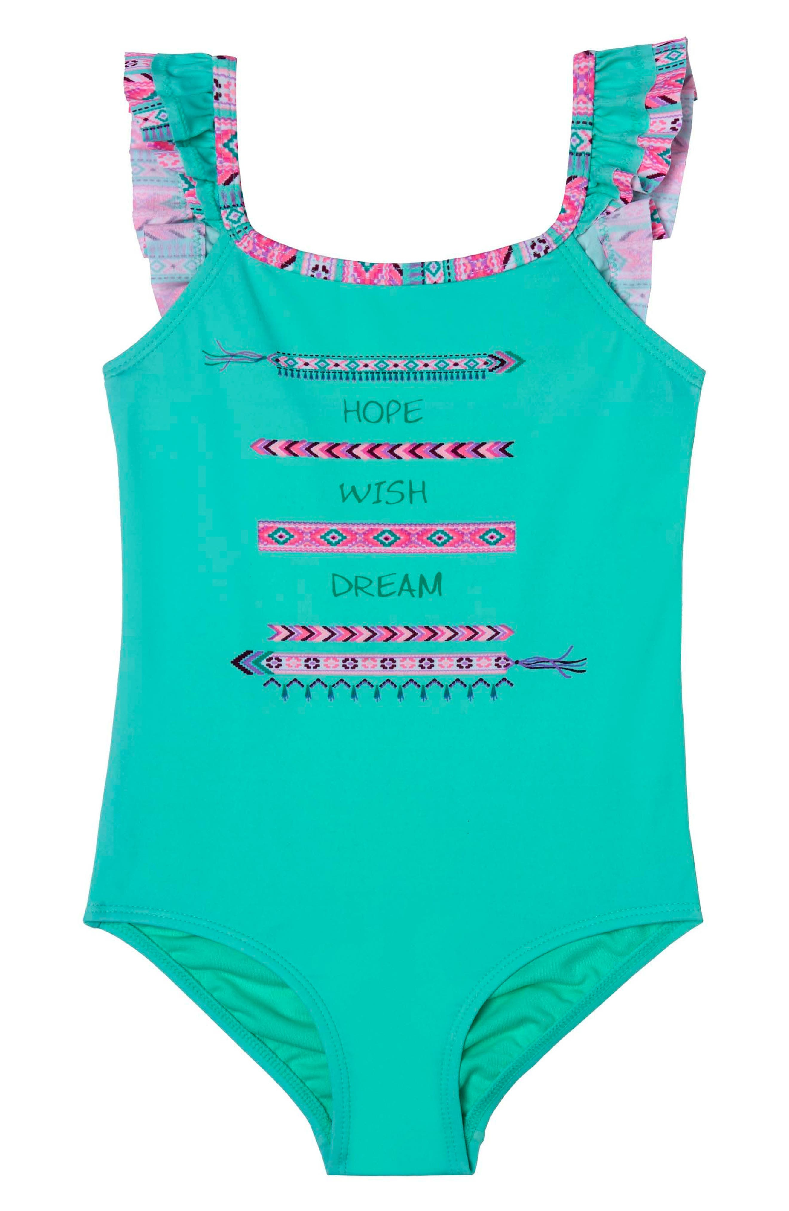 BFF One-Piece Swimsuit,                         Main,                         color, Green