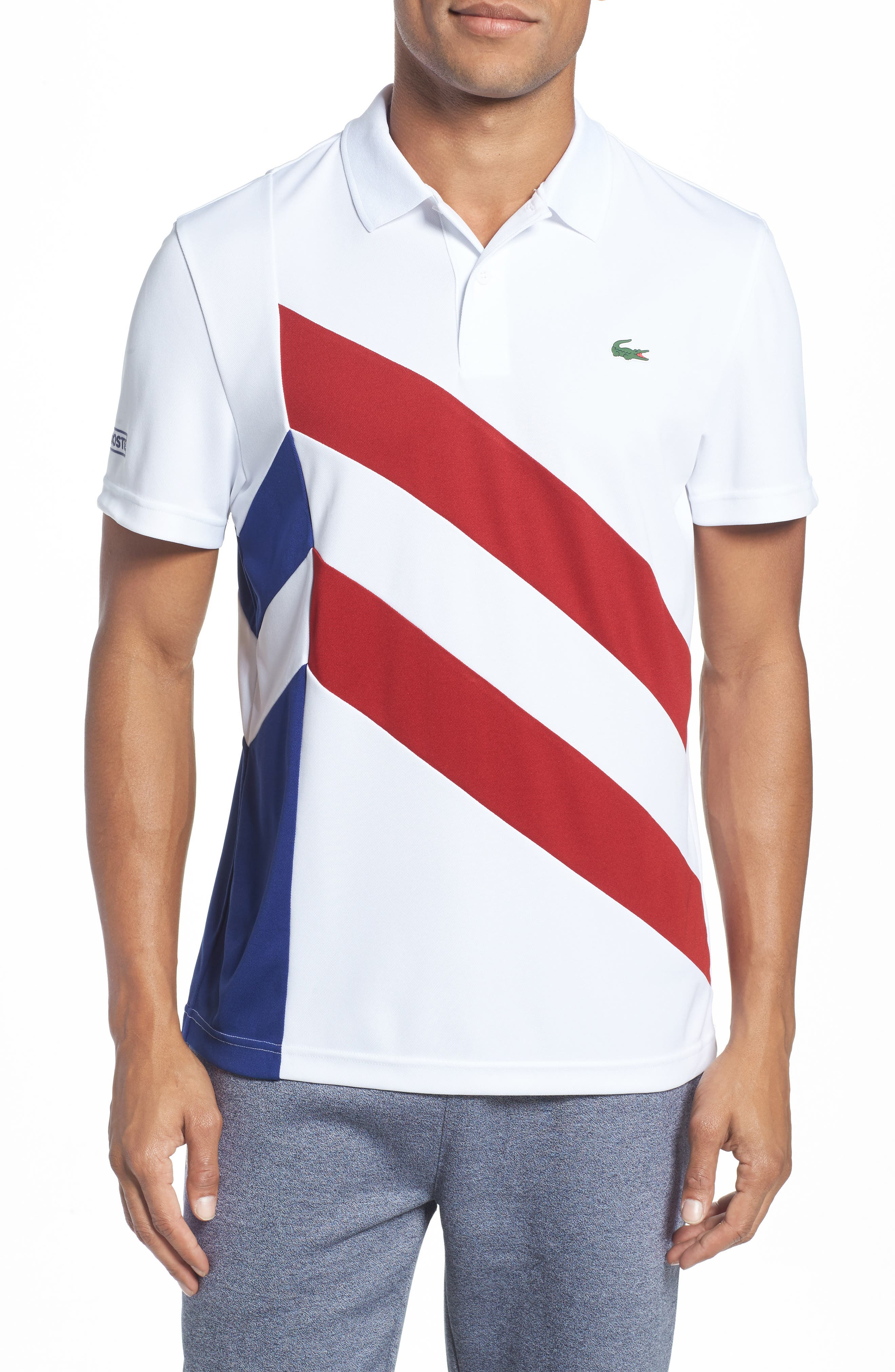 Main Image - Lacoste Asymmetrical Colorblocked Polo