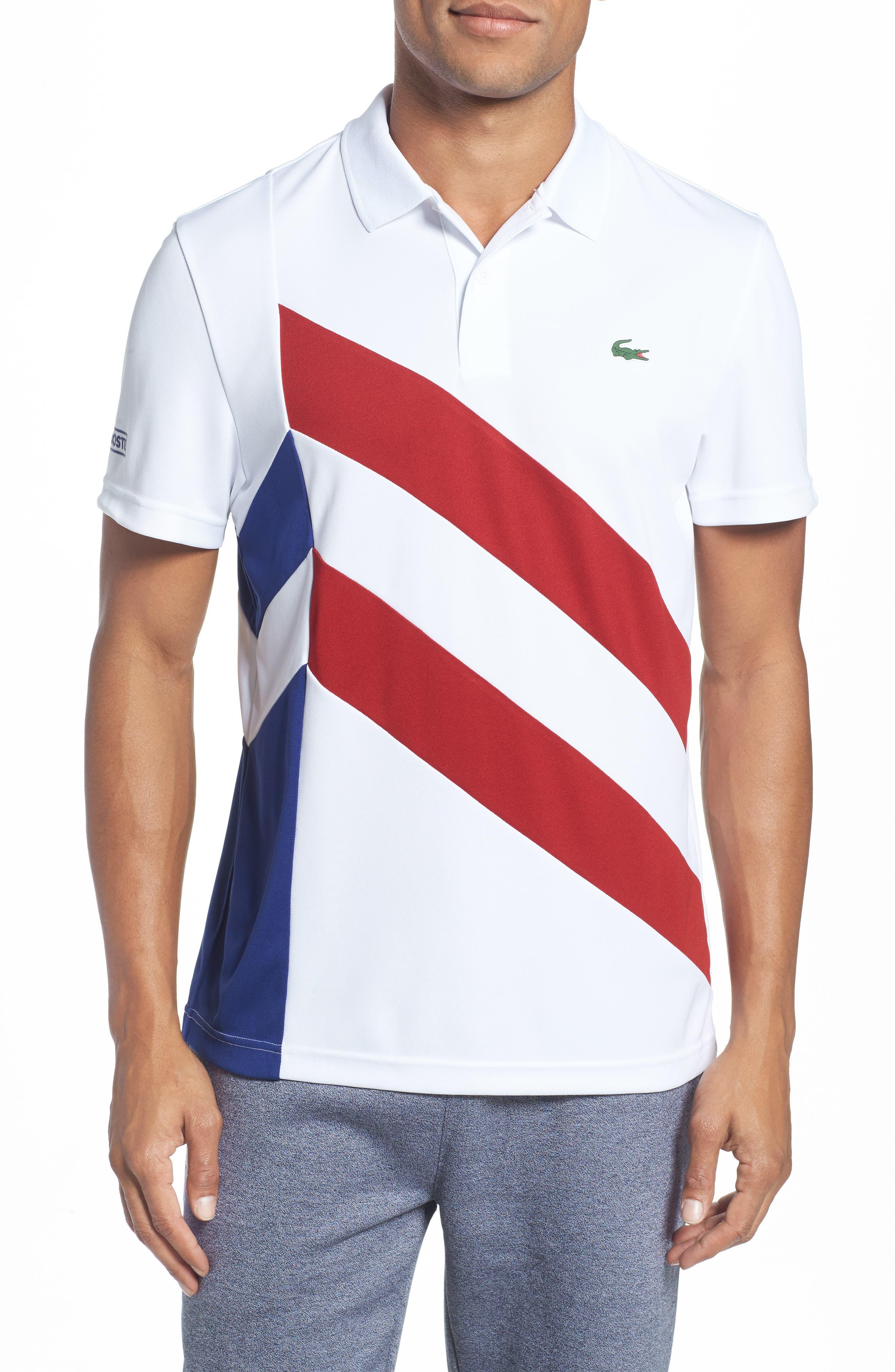 Asymmetrical Colorblocked Polo,                         Main,                         color, White/ Ladybird-Ocean