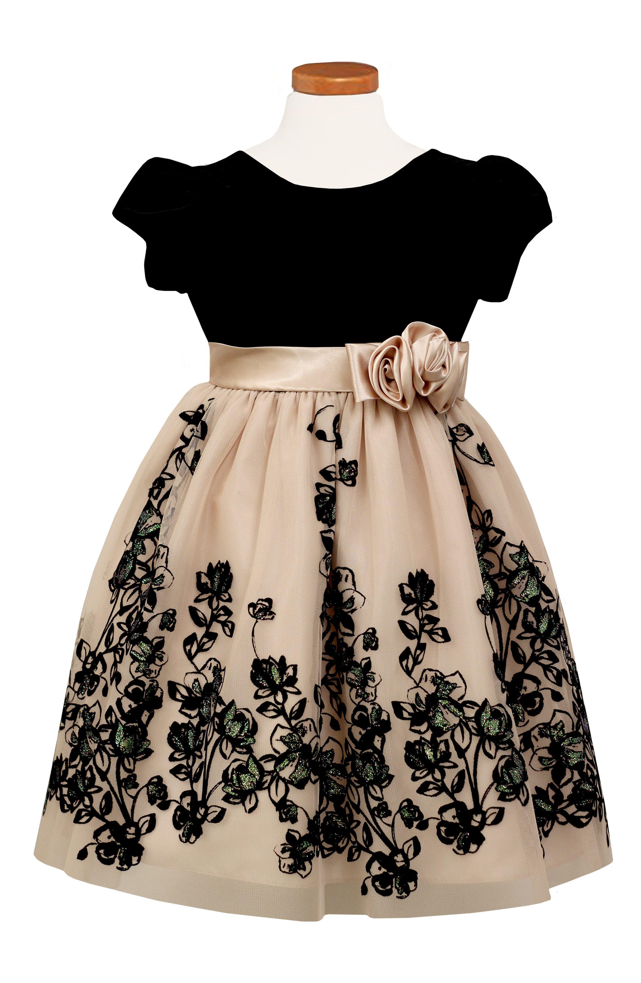 Main Image - Sorbet Velvet Bodice Fit & Flare Dress (Big Girls)