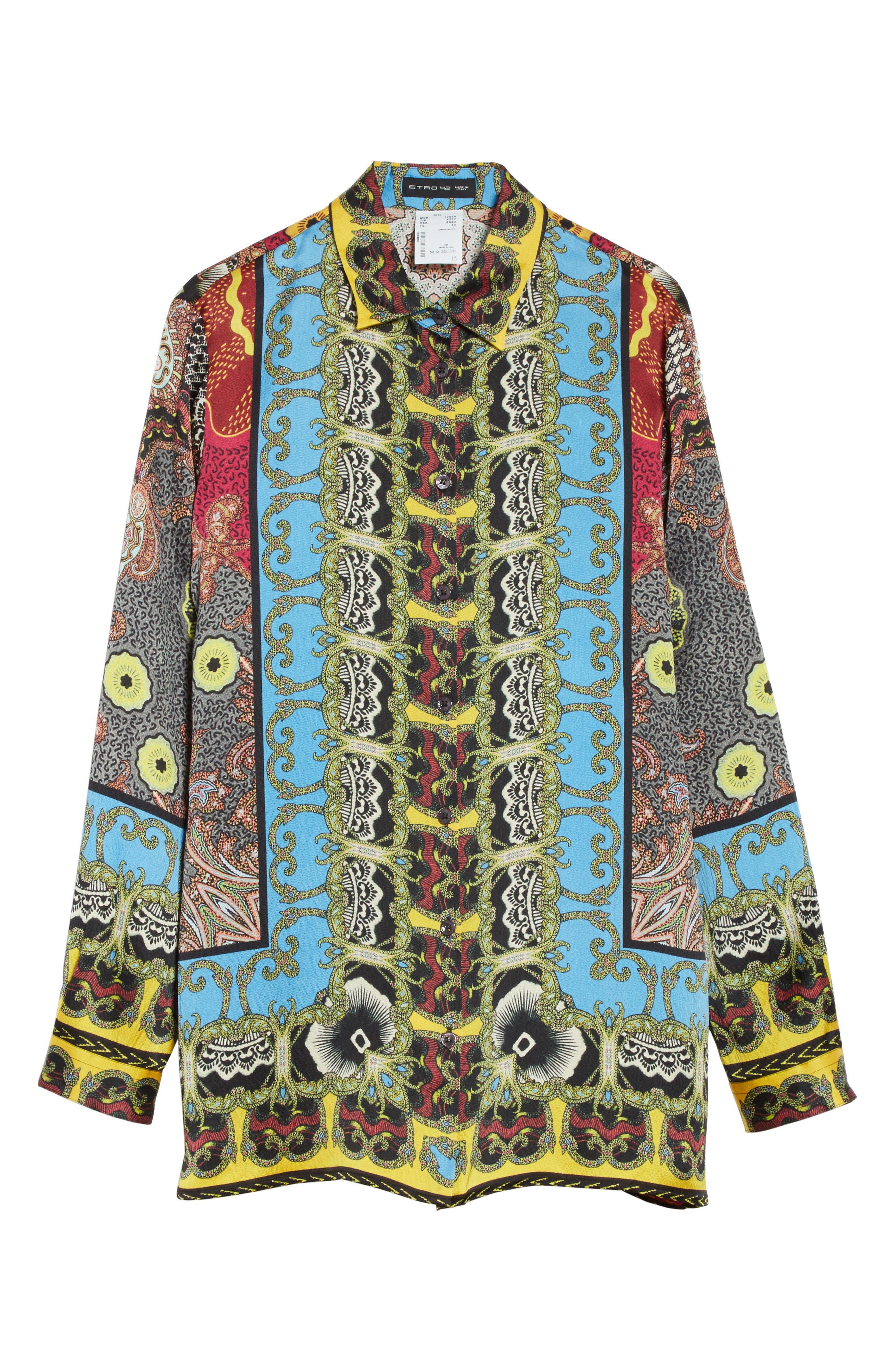Print Hammered Silk Shirt,                             Alternate thumbnail 6, color,                             Multi