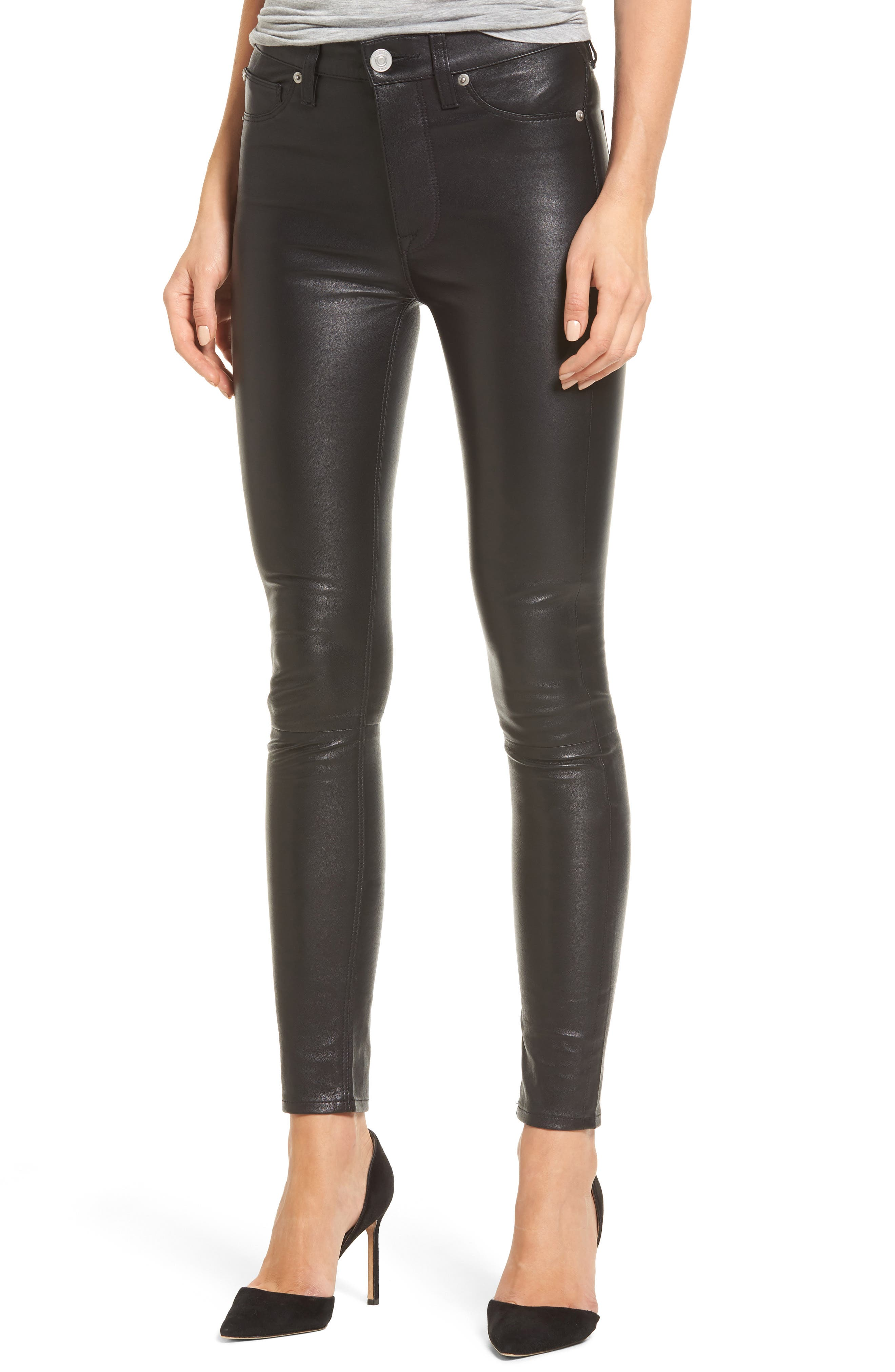 Barbara High Waist Ankle Skinny Leather Pants,                             Main thumbnail 1, color,                             Black Leather