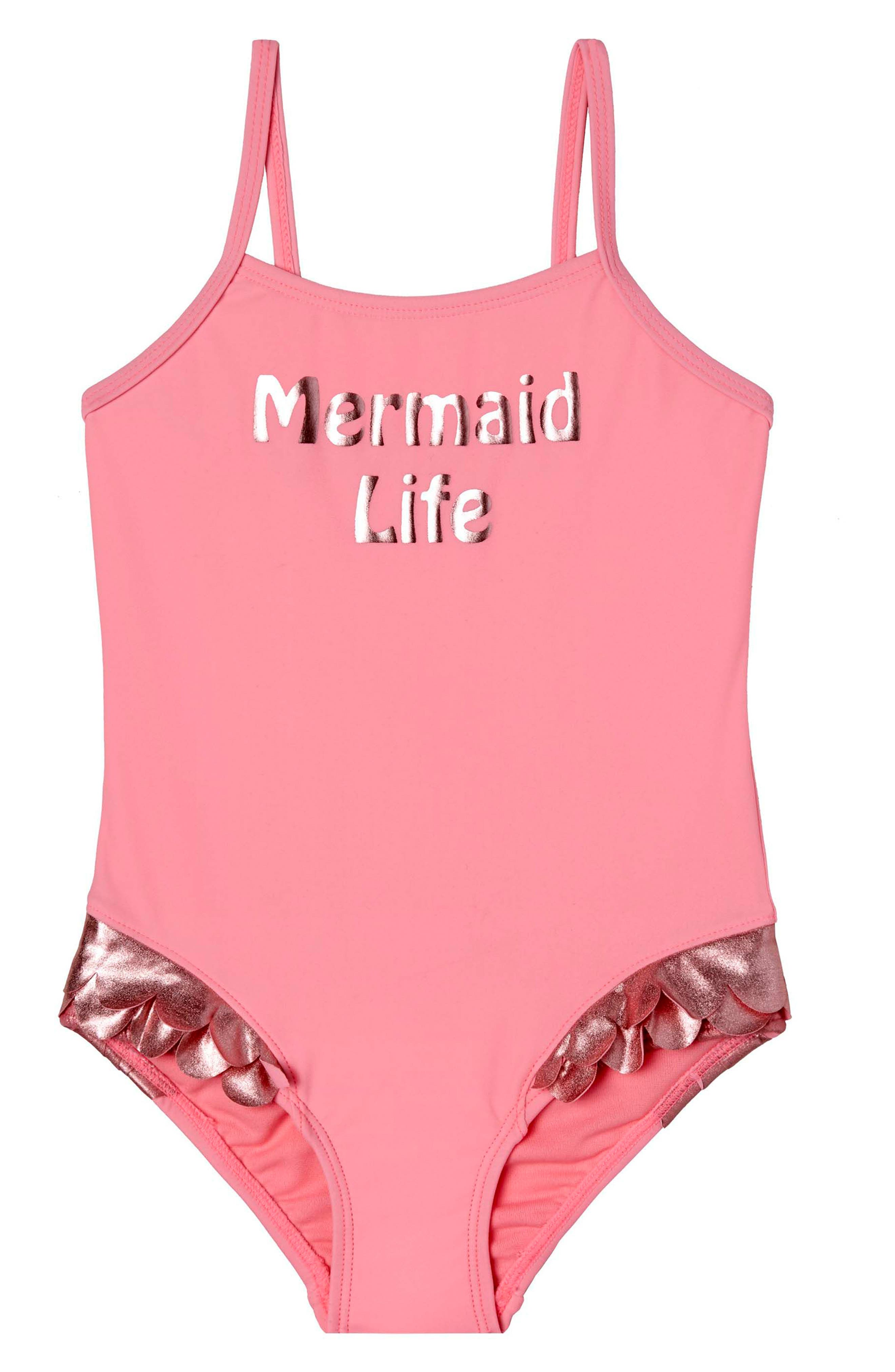 Mermaid Life One-Piece Swimsuit,                             Main thumbnail 1, color,                             Pink