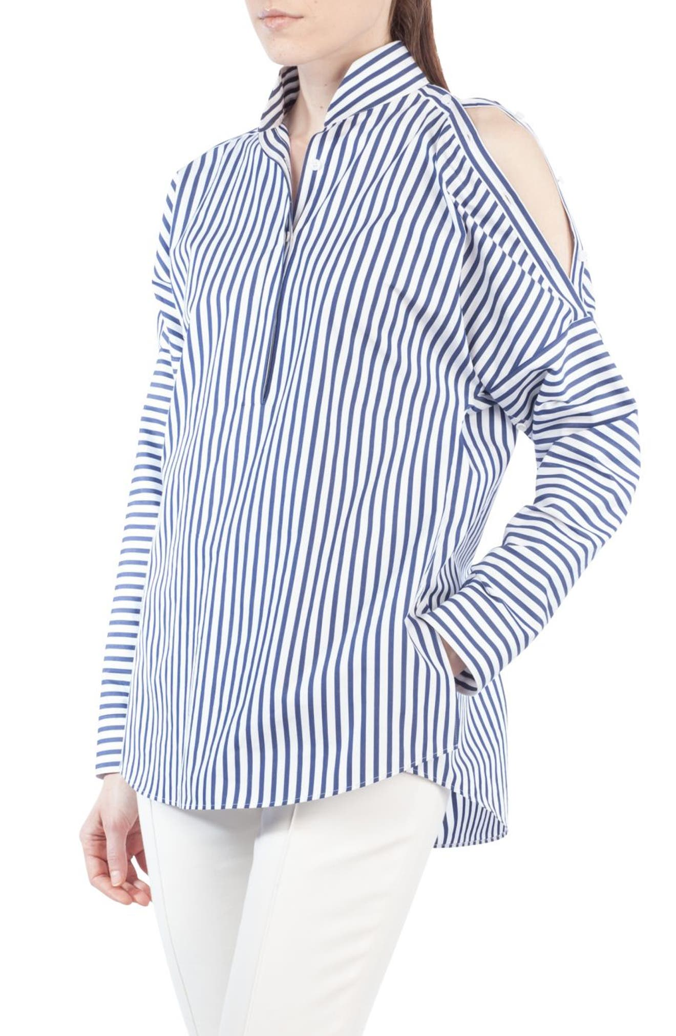 Stripe Cold Shoulder Blouse,                             Main thumbnail 1, color,                             Indigo/ Cream