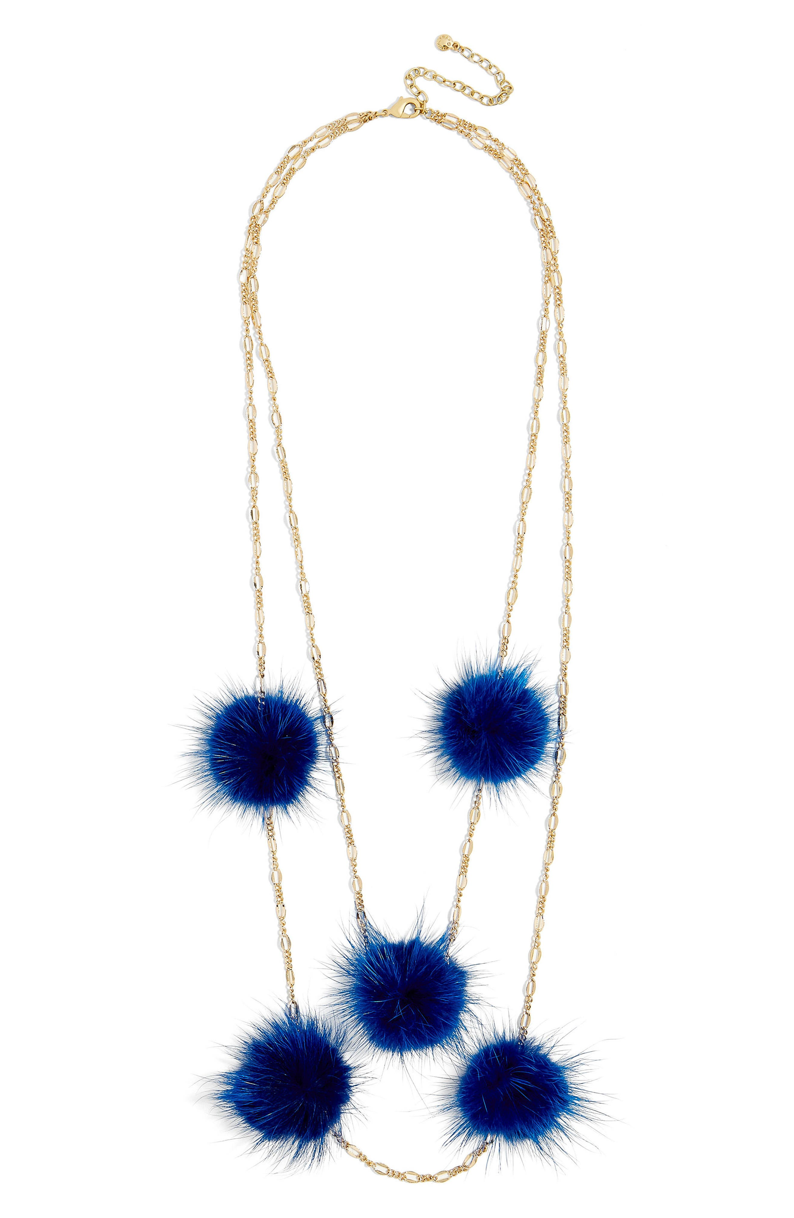 Alternate Image 2  - BaubleBar Loulou Genuine Marten Fur Pompom Layered Necklace