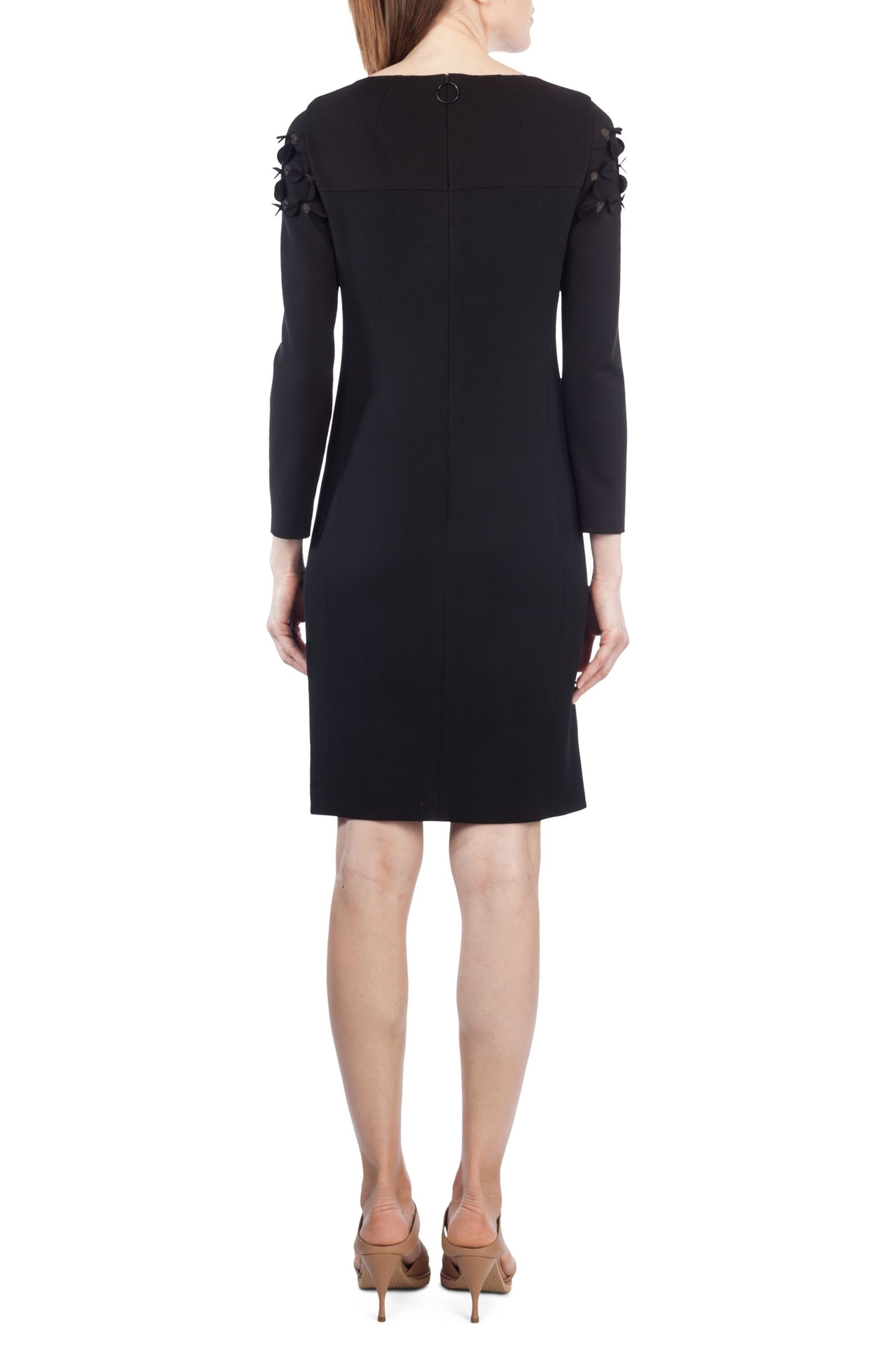 Cutout Dot Shift Dress,                             Alternate thumbnail 2, color,                             Black