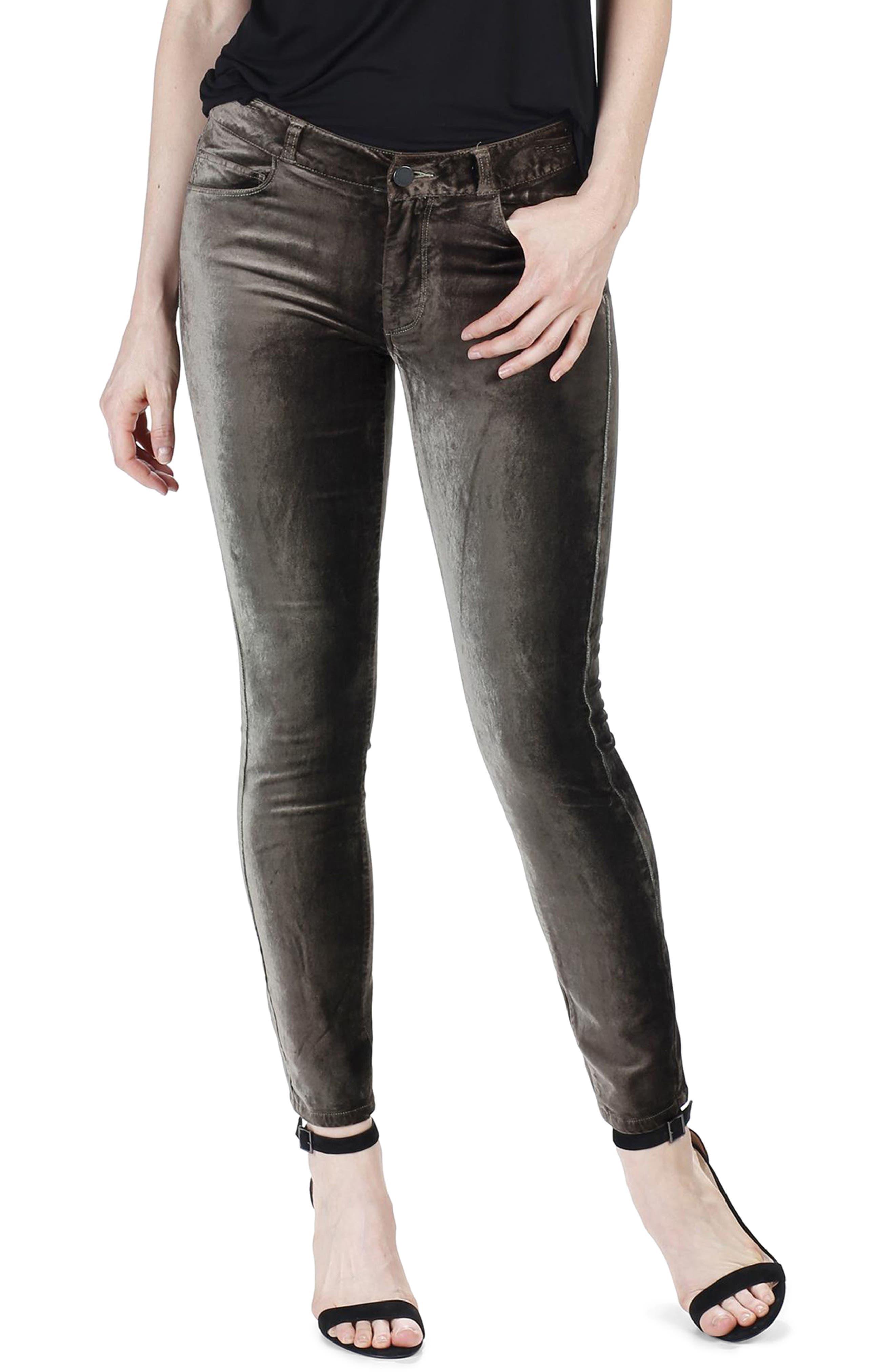 Verdugo Velvet Ankle Skinny Pants,                             Main thumbnail 1, color,                             Deep Juniper