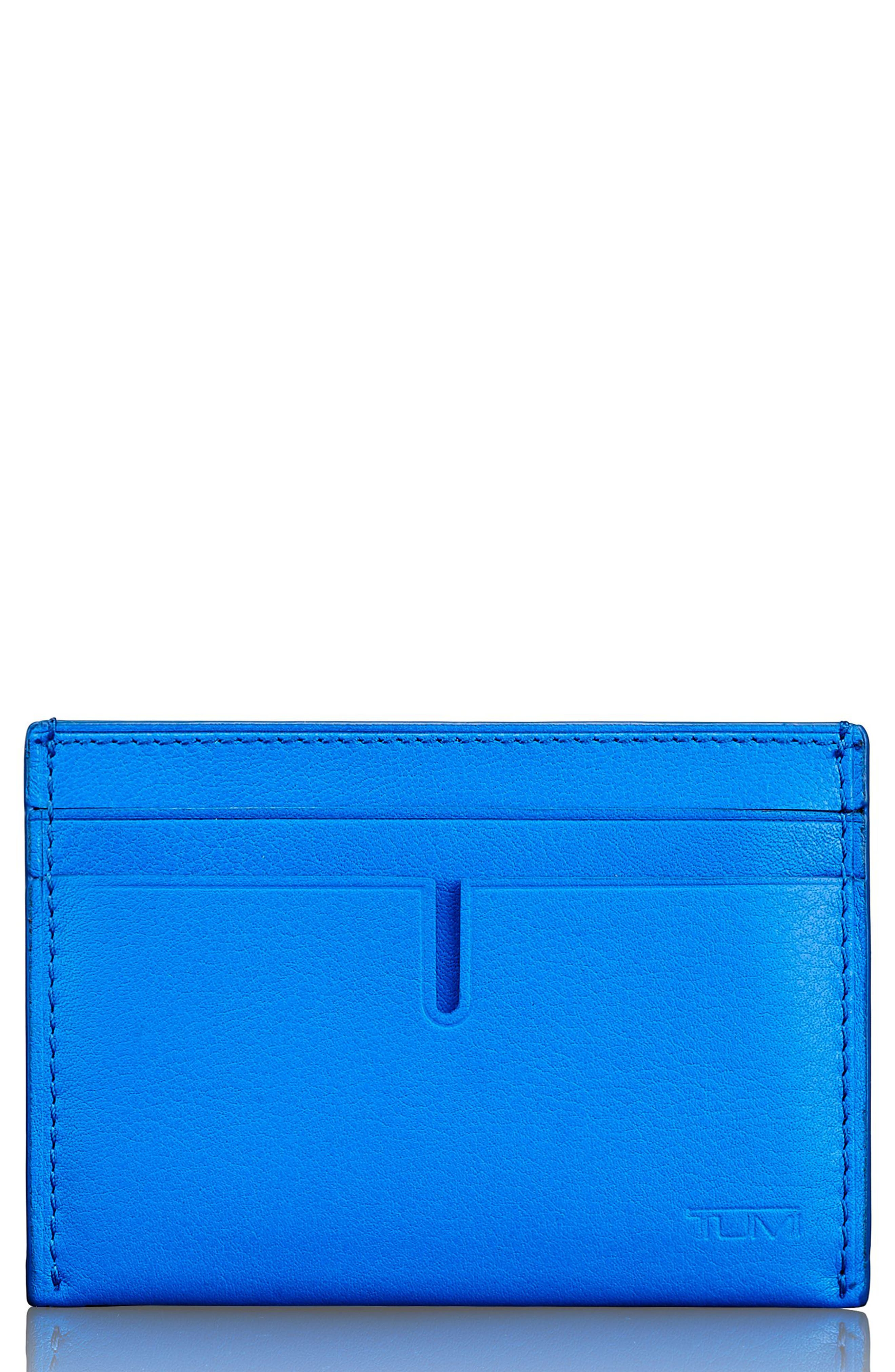 Leather Card Case,                             Main thumbnail 1, color,                             Electric Blue Textured