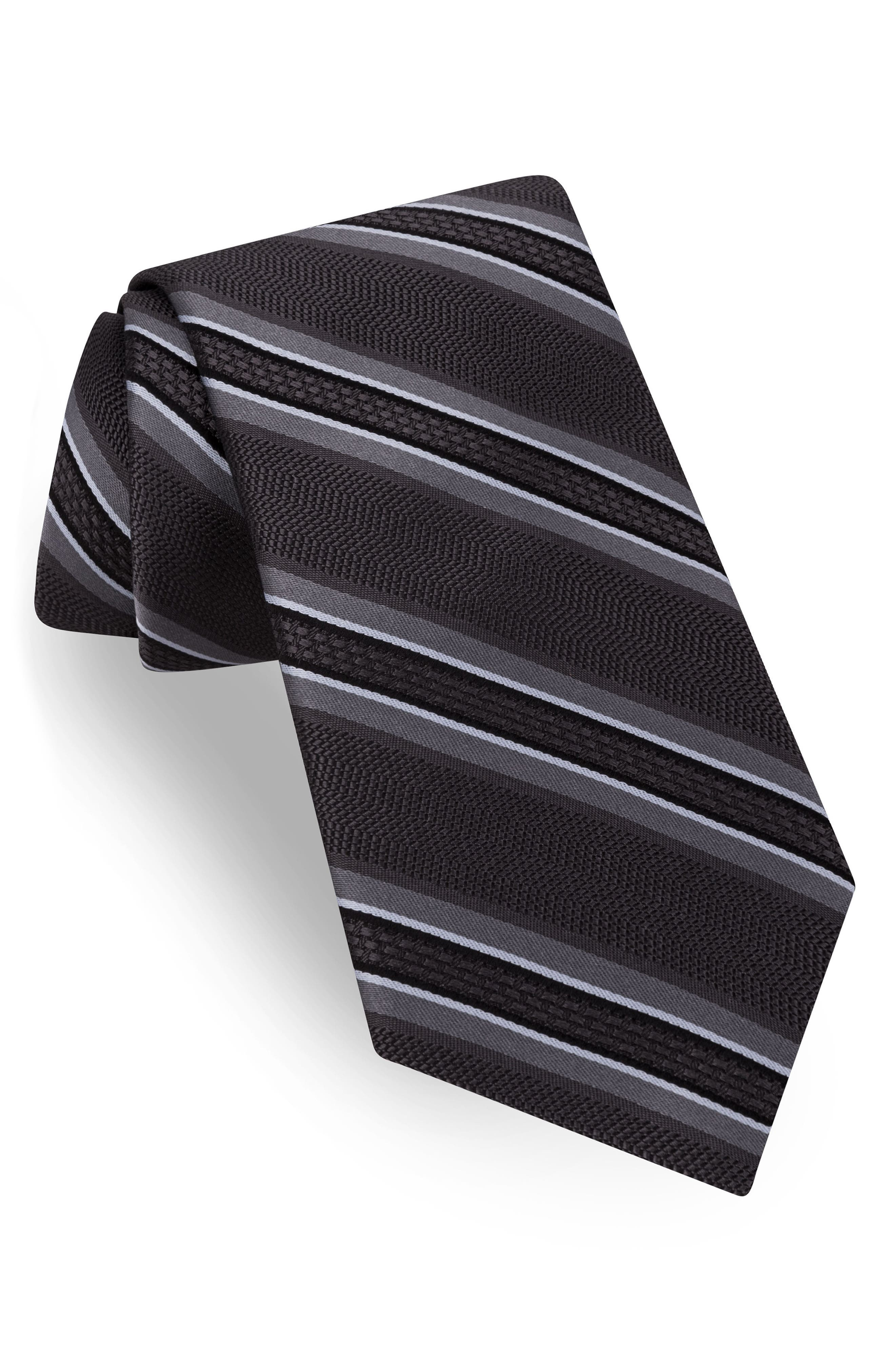 Jetset Stripe Silk Tie,                             Main thumbnail 1, color,                             Charcoal