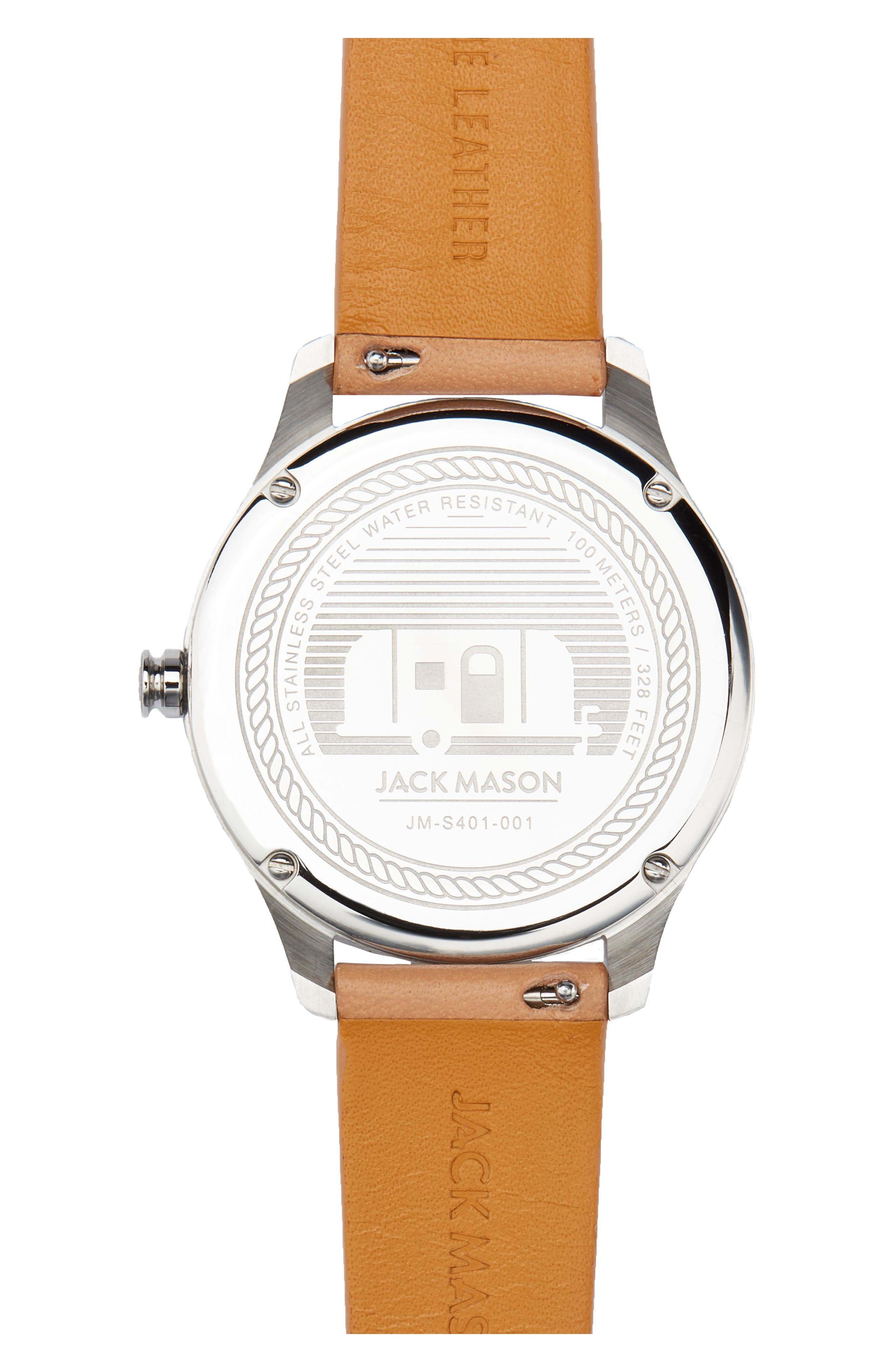 Slim Leather Strap Watch, 38mm,                             Alternate thumbnail 2, color,                             Camel/ White/ Silver