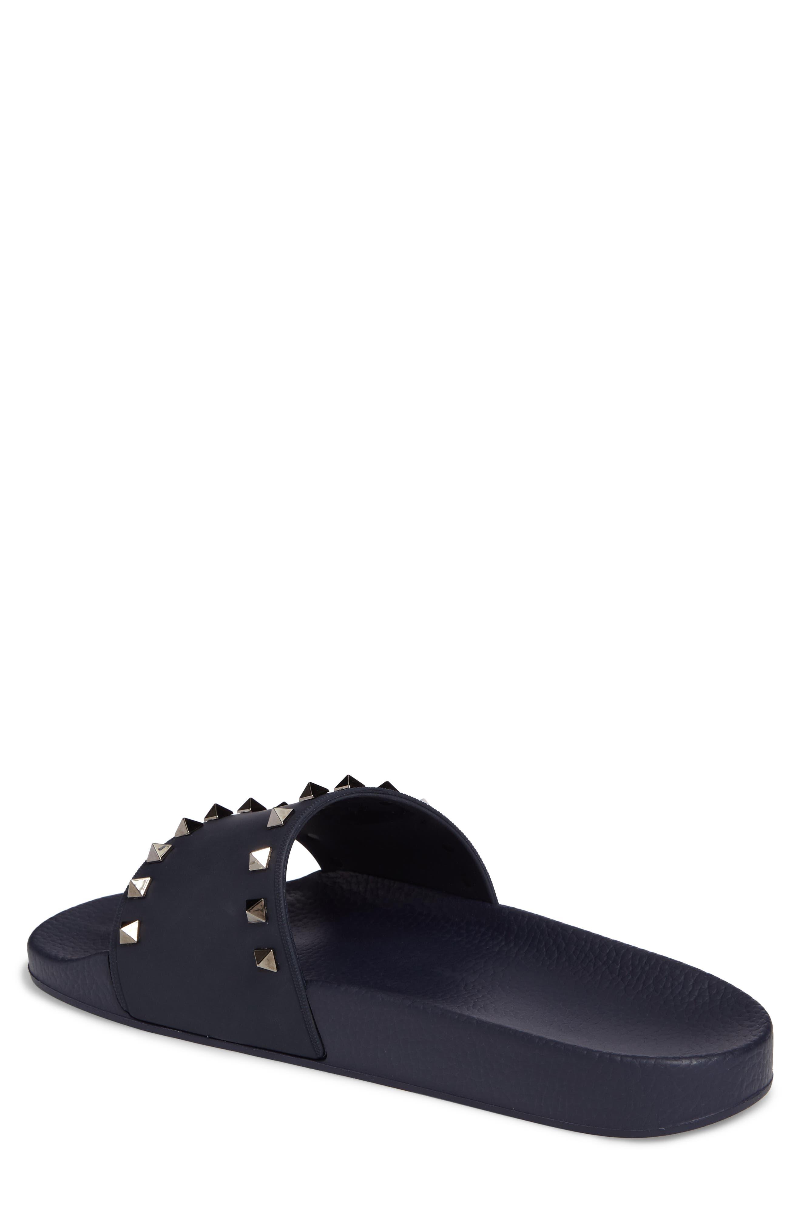 Rockstud Slide Sandal,                             Alternate thumbnail 2, color,                             Marine Blue