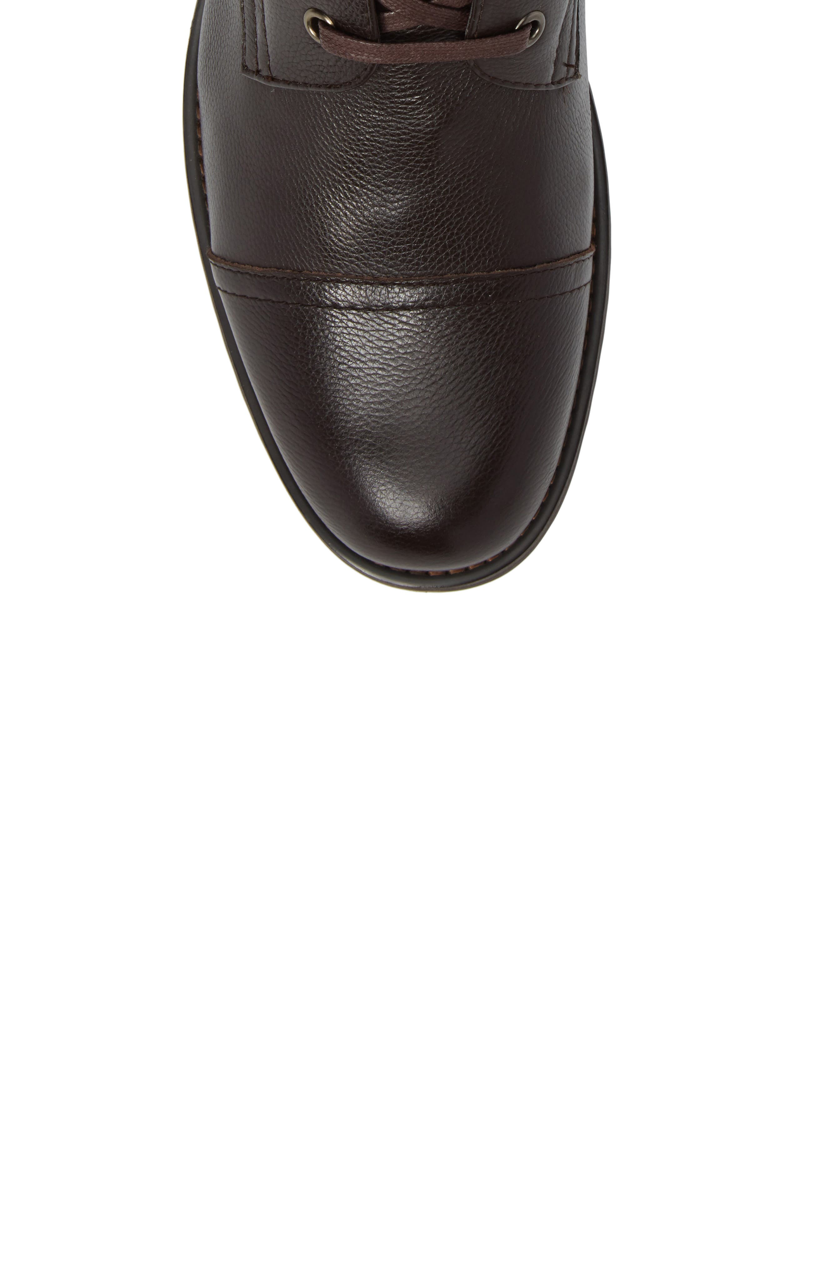 Cap Toe Boot,                             Alternate thumbnail 5, color,                             Brown Leather