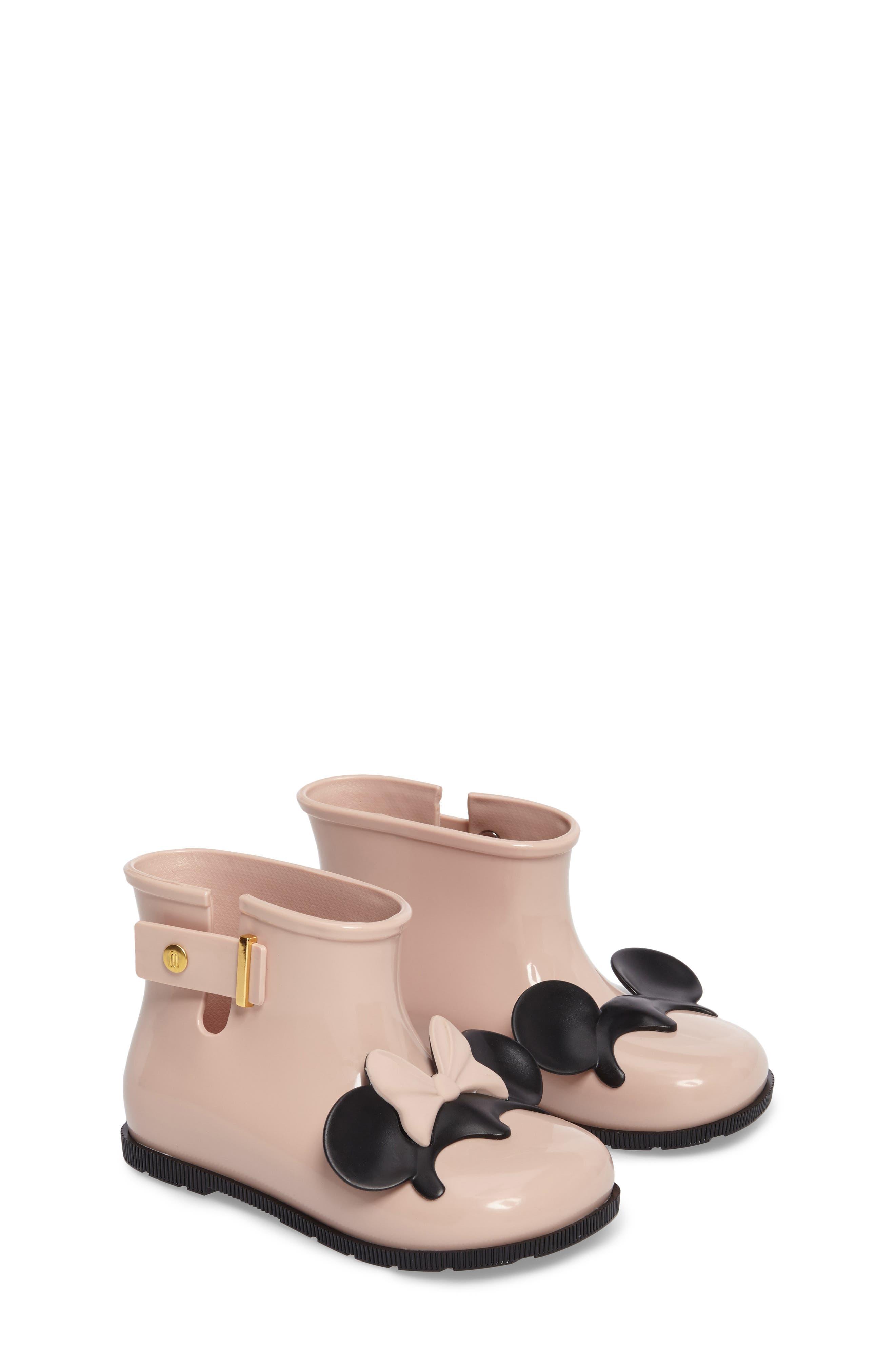 Main Image - Mini Melissa Sugar Rain Disney Twins Waterproof Bootie (Walker & Toddler)