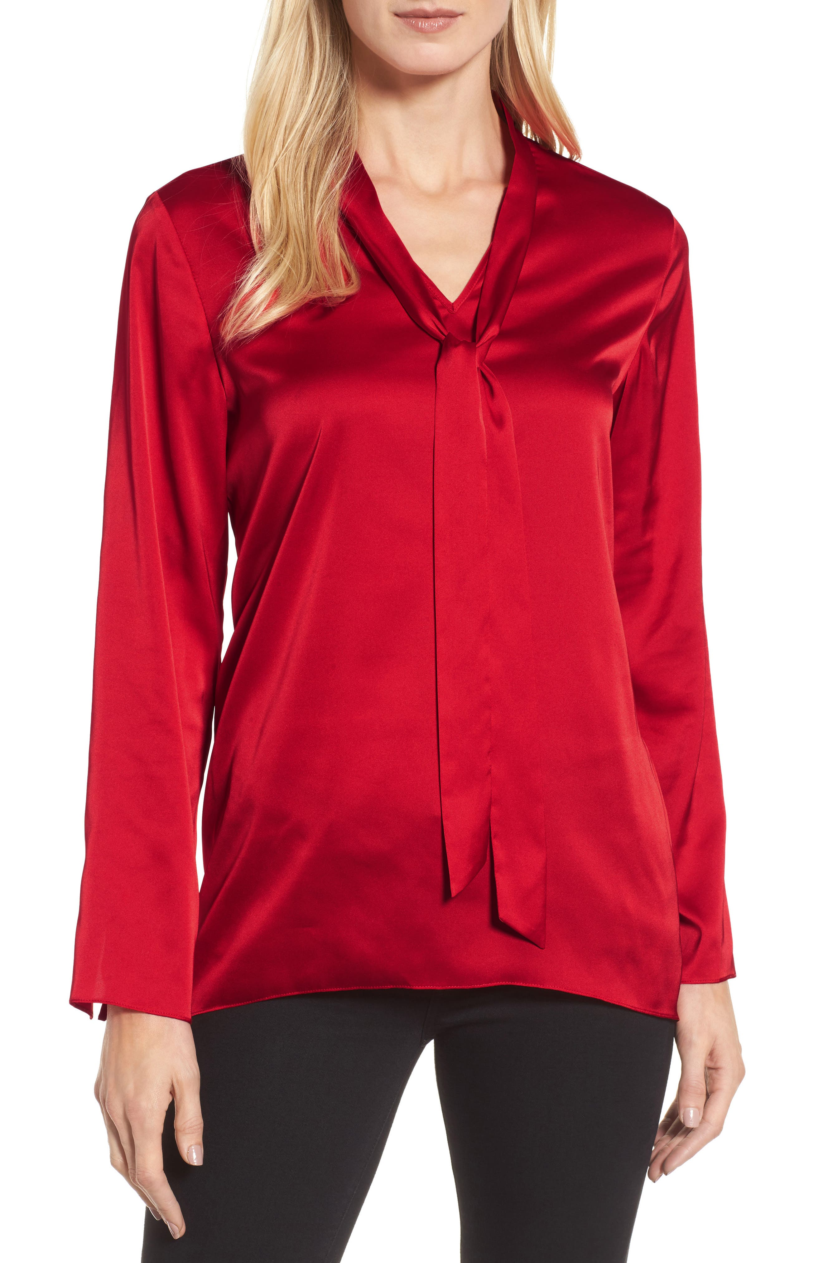 Alternate Image 1 Selected - Chaus Long Sleeve Tie Neck Blouse