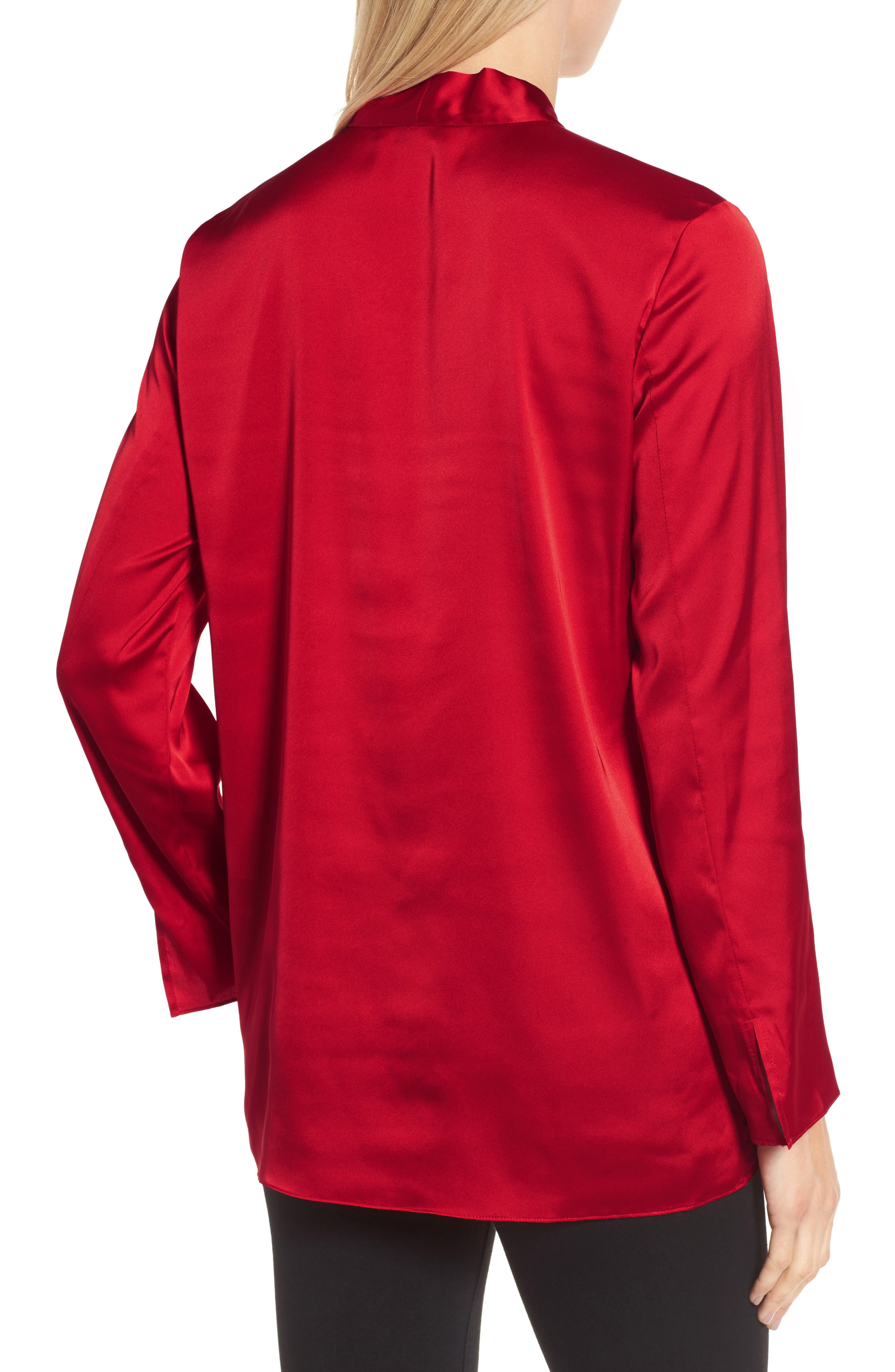 Alternate Image 2  - Chaus Long Sleeve Tie Neck Blouse