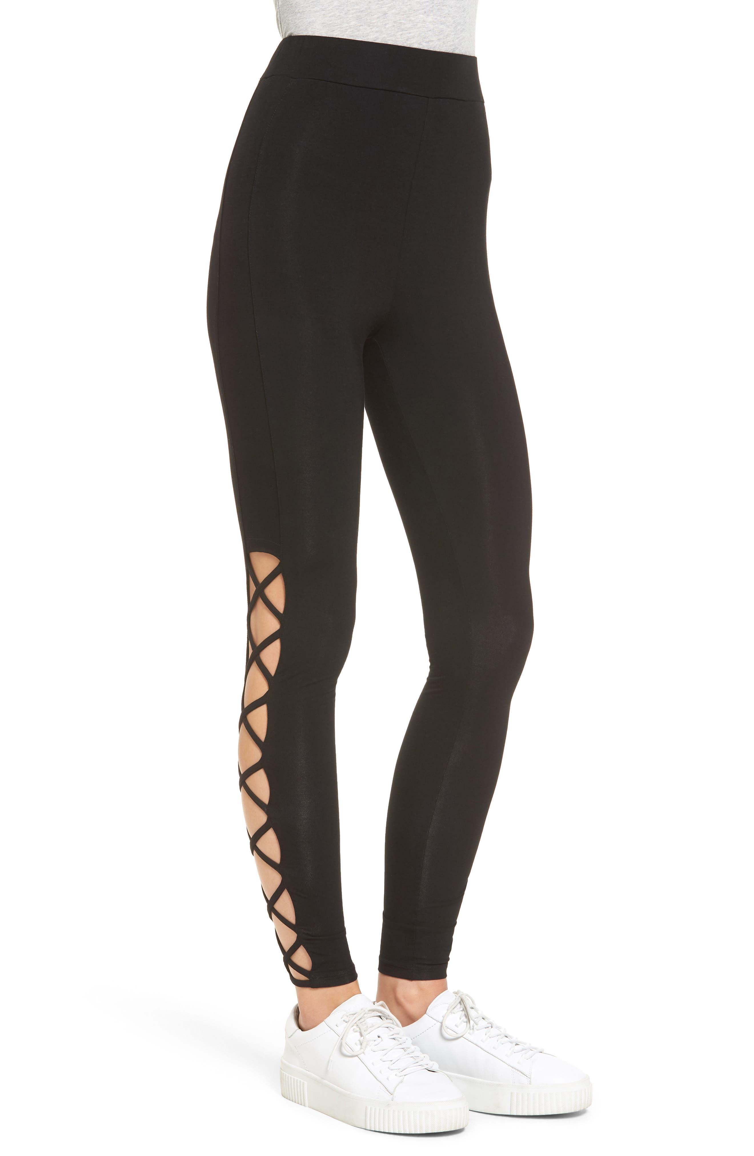 Lace-Up Leggings,                             Alternate thumbnail 3, color,                             Black