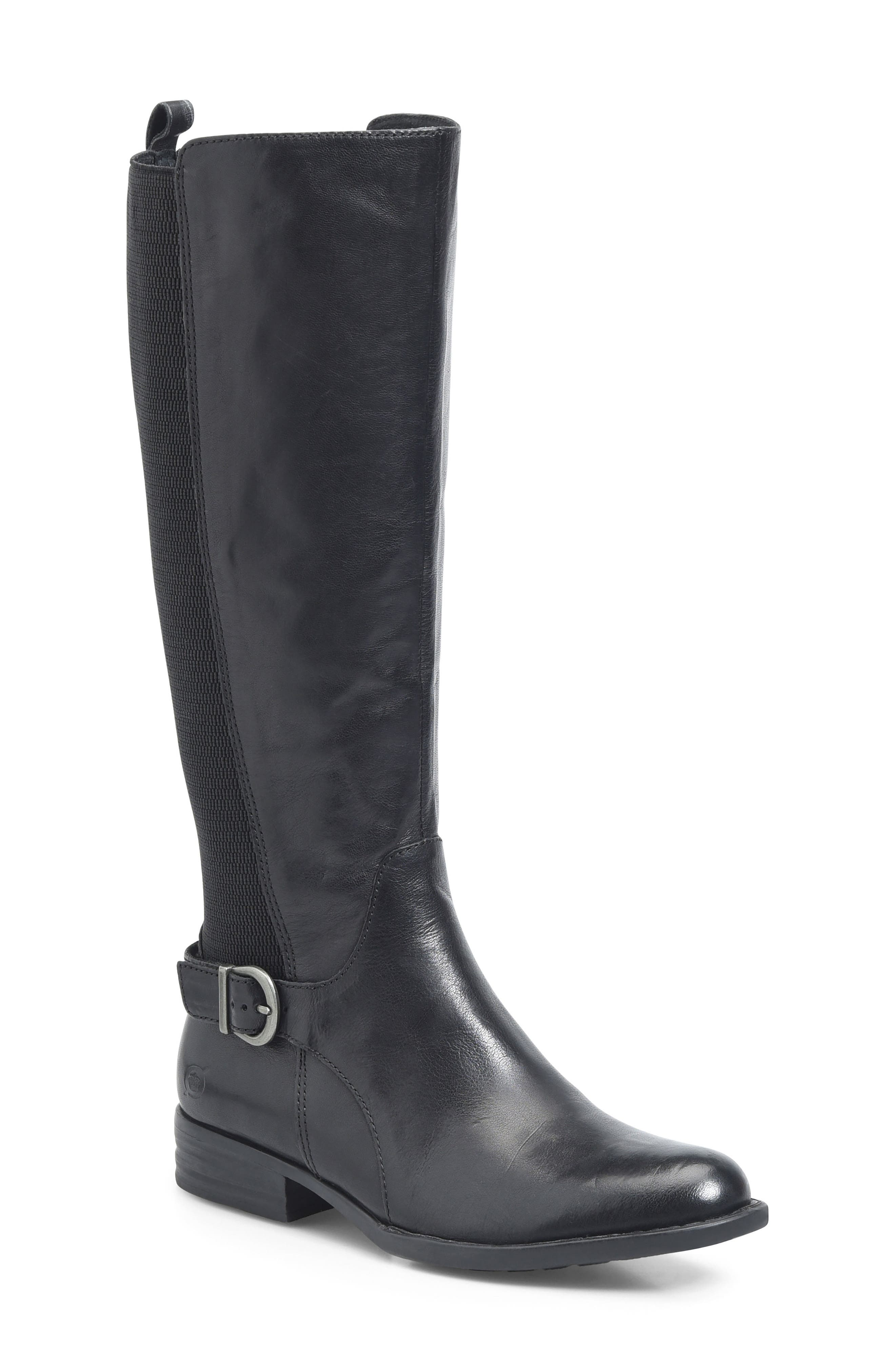 Campbell Knee High Elastic Back Boot,                             Main thumbnail 1, color,                             Black Leather