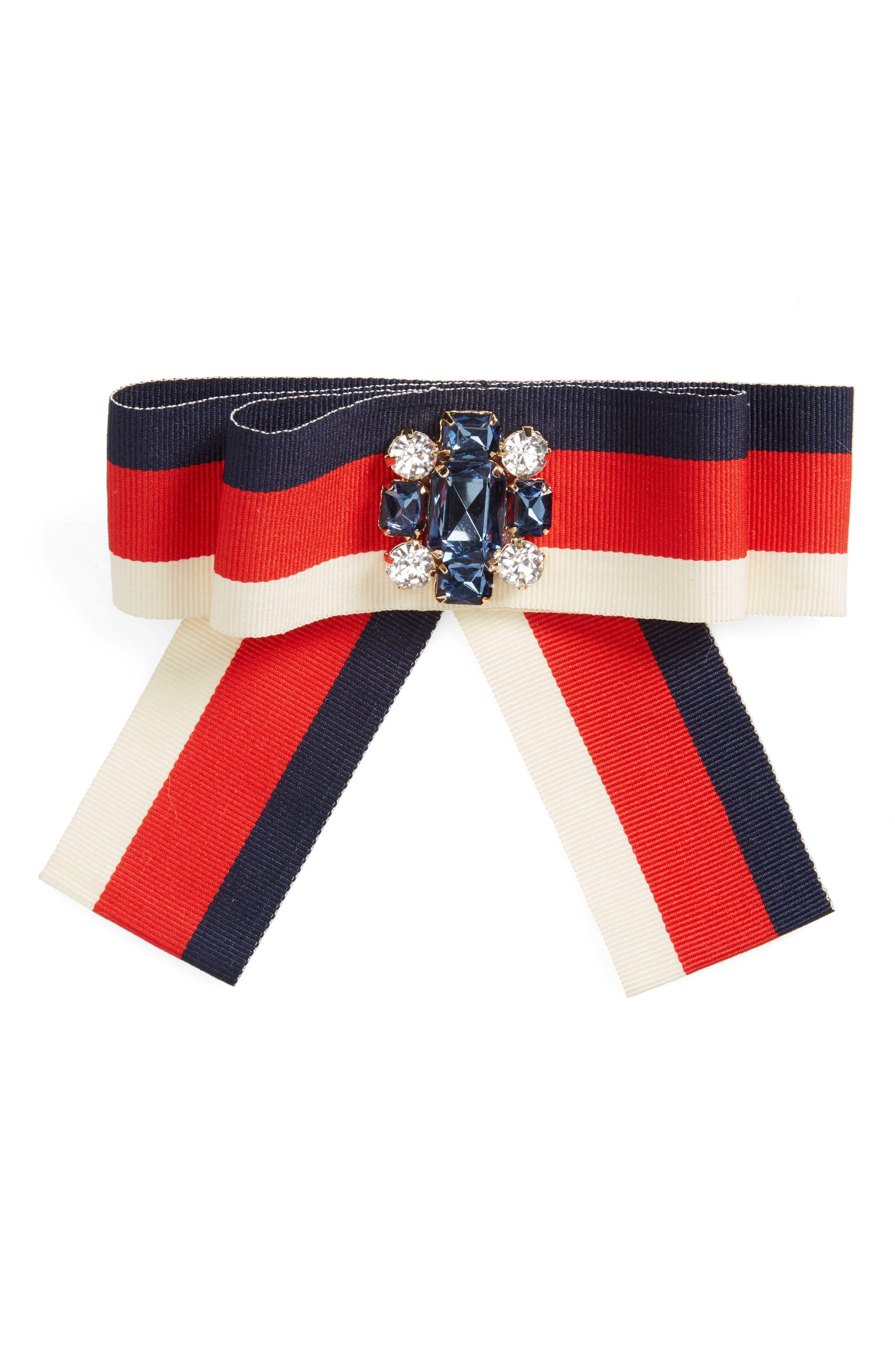 Stripe Crystal Ribbon Pin,                             Main thumbnail 1, color,                             Navy/ Red/ Ivory