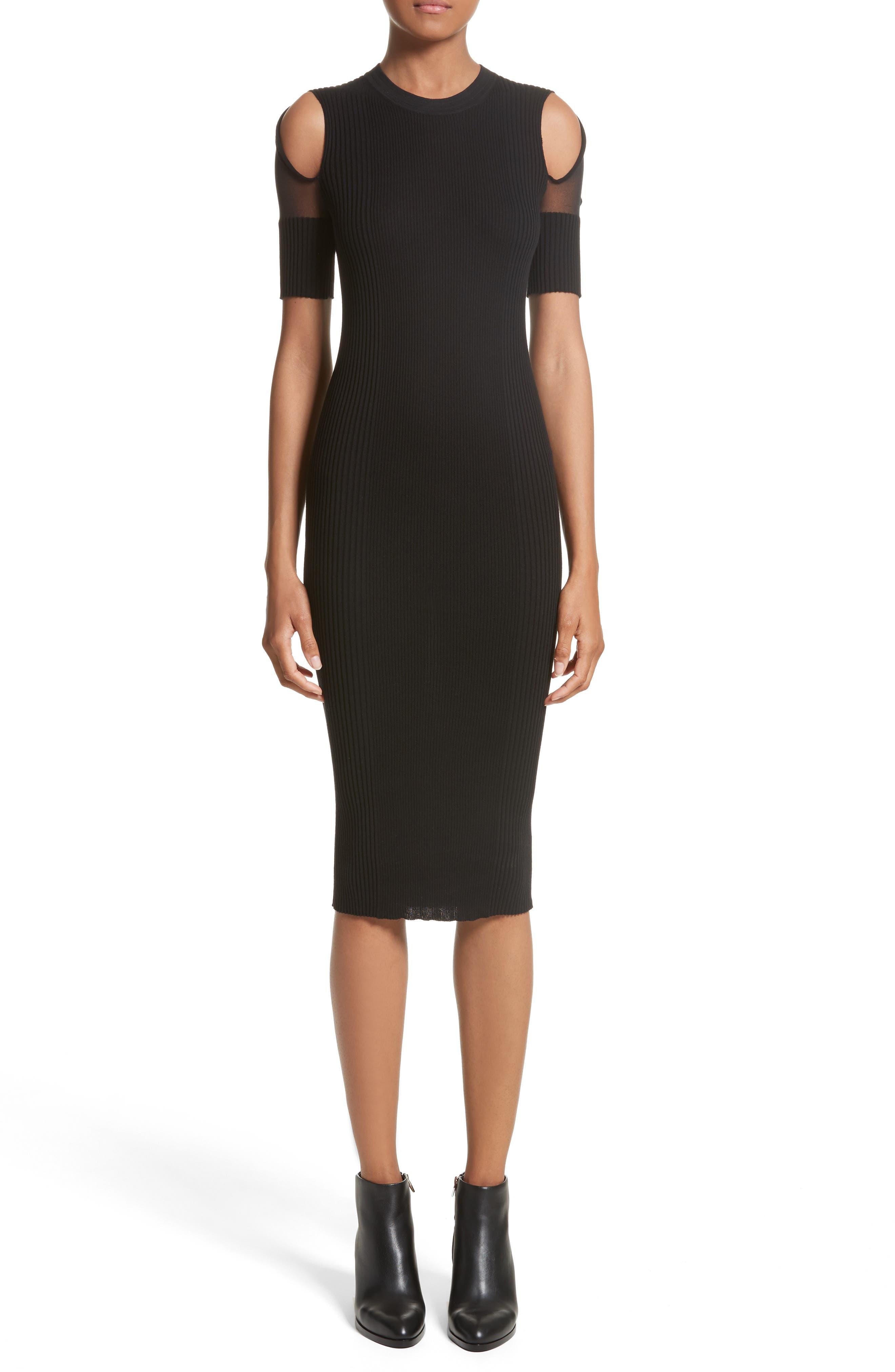 Knit Cold Shoulder Dress,                         Main,                         color, Black